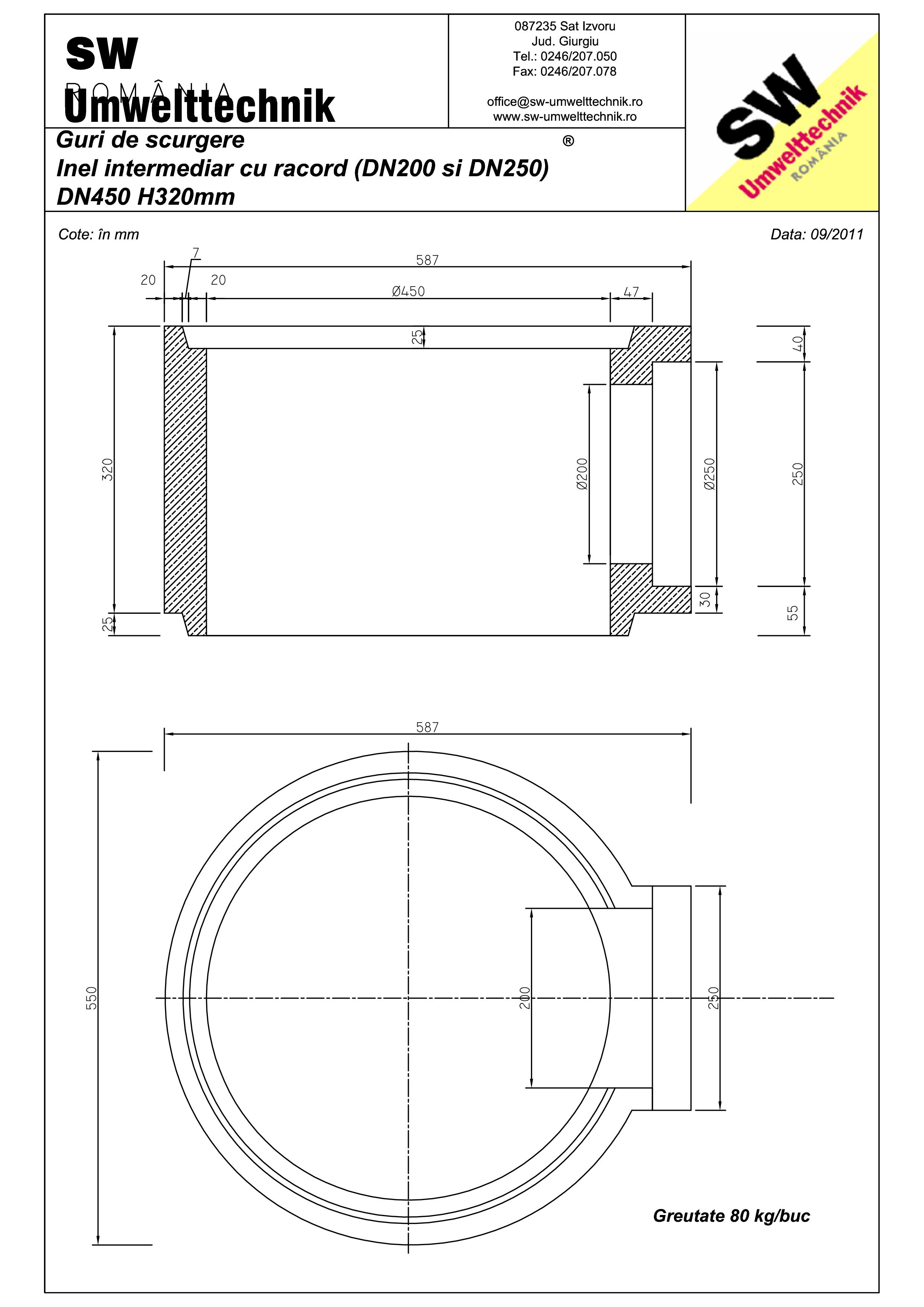 Pagina 1 - CAD-PDF Plan Austria - inel intermediar cu racord DN200/DN250 SW UMWELTTECHNIK Detaliu de...