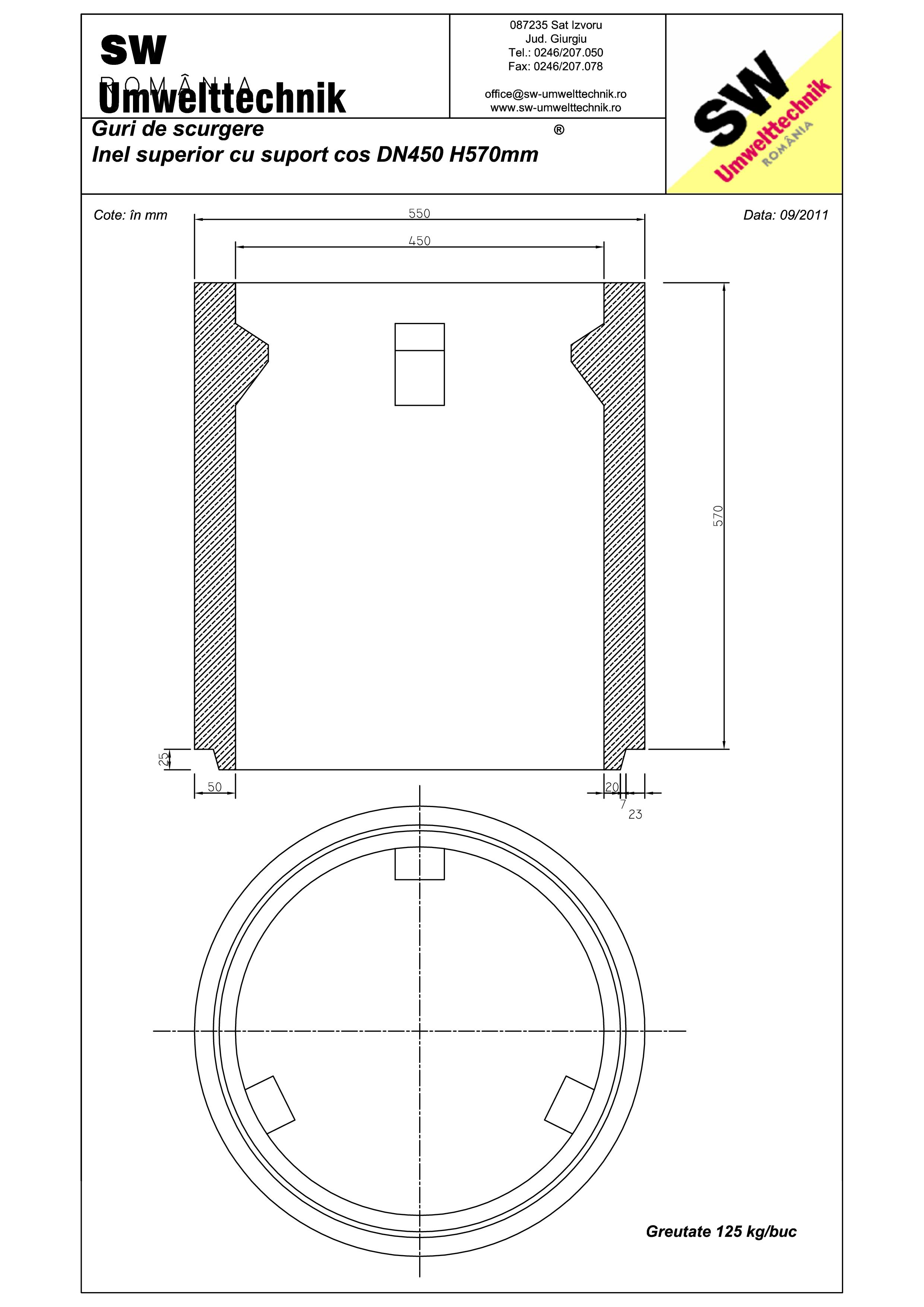 Pagina 1 - CAD-PDF Plan Austria - inel superior cu suport cos DN450 H570 mm SW UMWELTTECHNIK Detaliu...