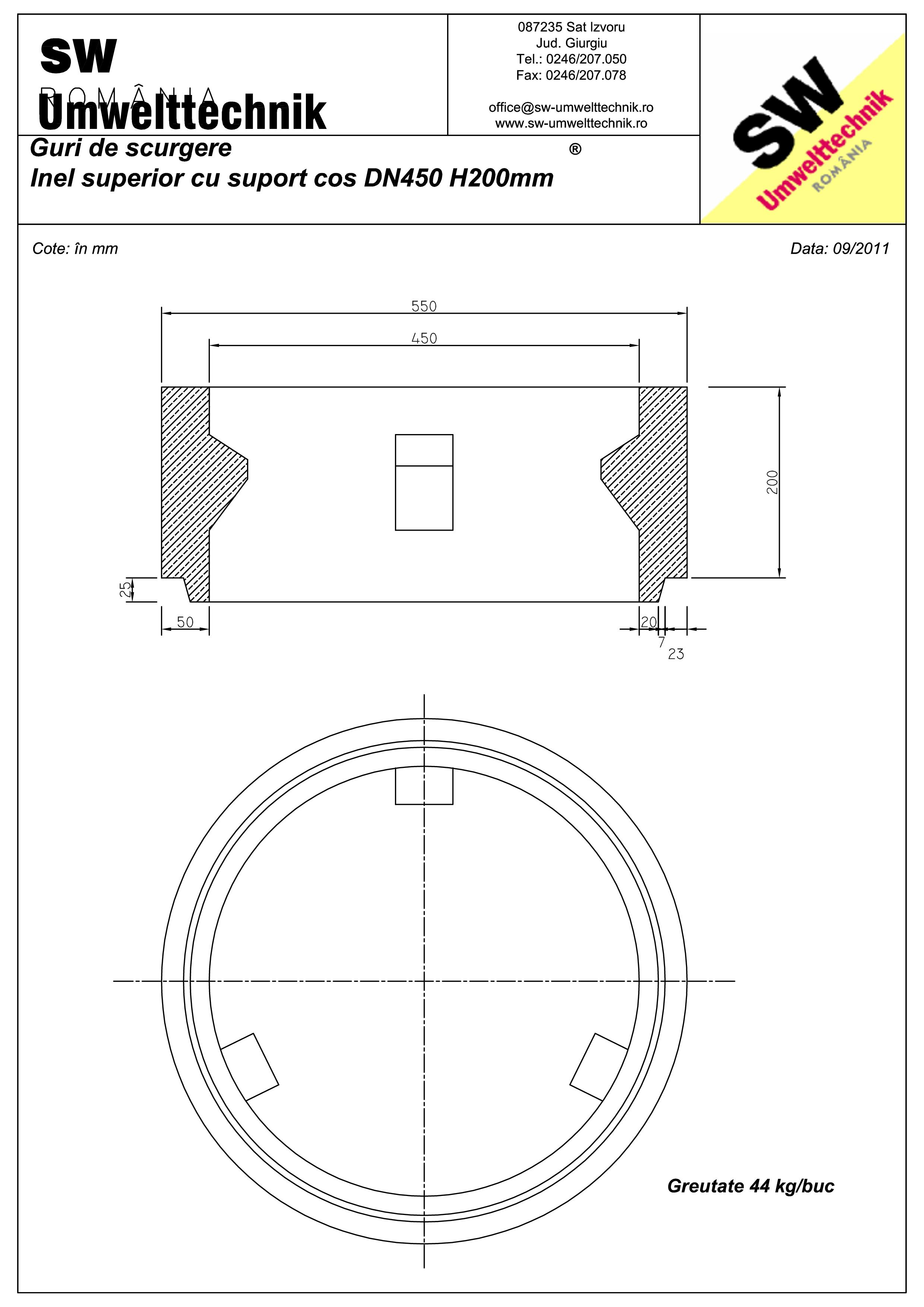 Pagina 1 - CAD-PDF Plan Austria - inel superior cu suport cos DN450 H200 mm SW UMWELTTECHNIK Detaliu...