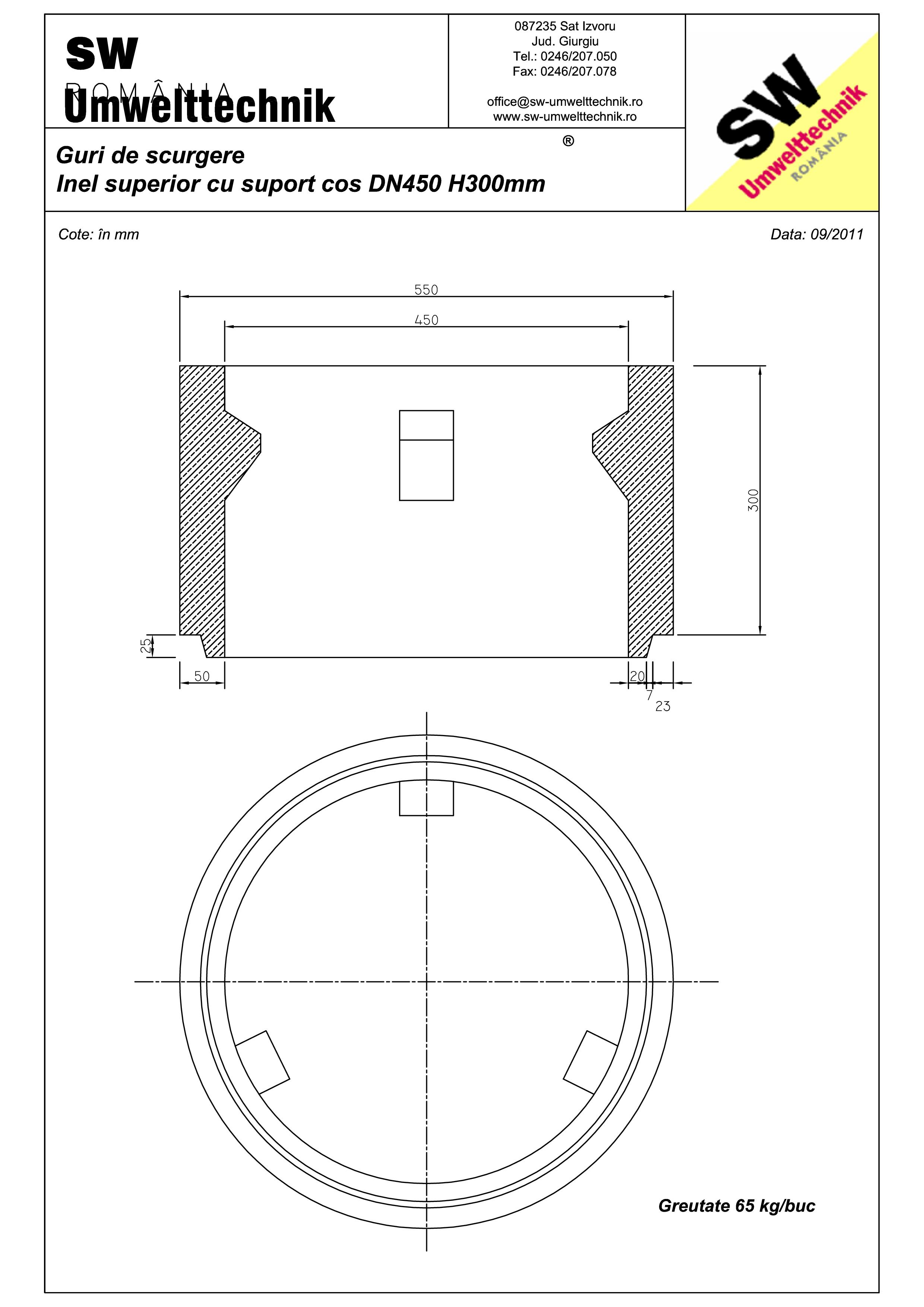 Pagina 1 - CAD-PDF Plan Austria - inel superior cu suport cos DN450 H300 mm SW UMWELTTECHNIK Detaliu...