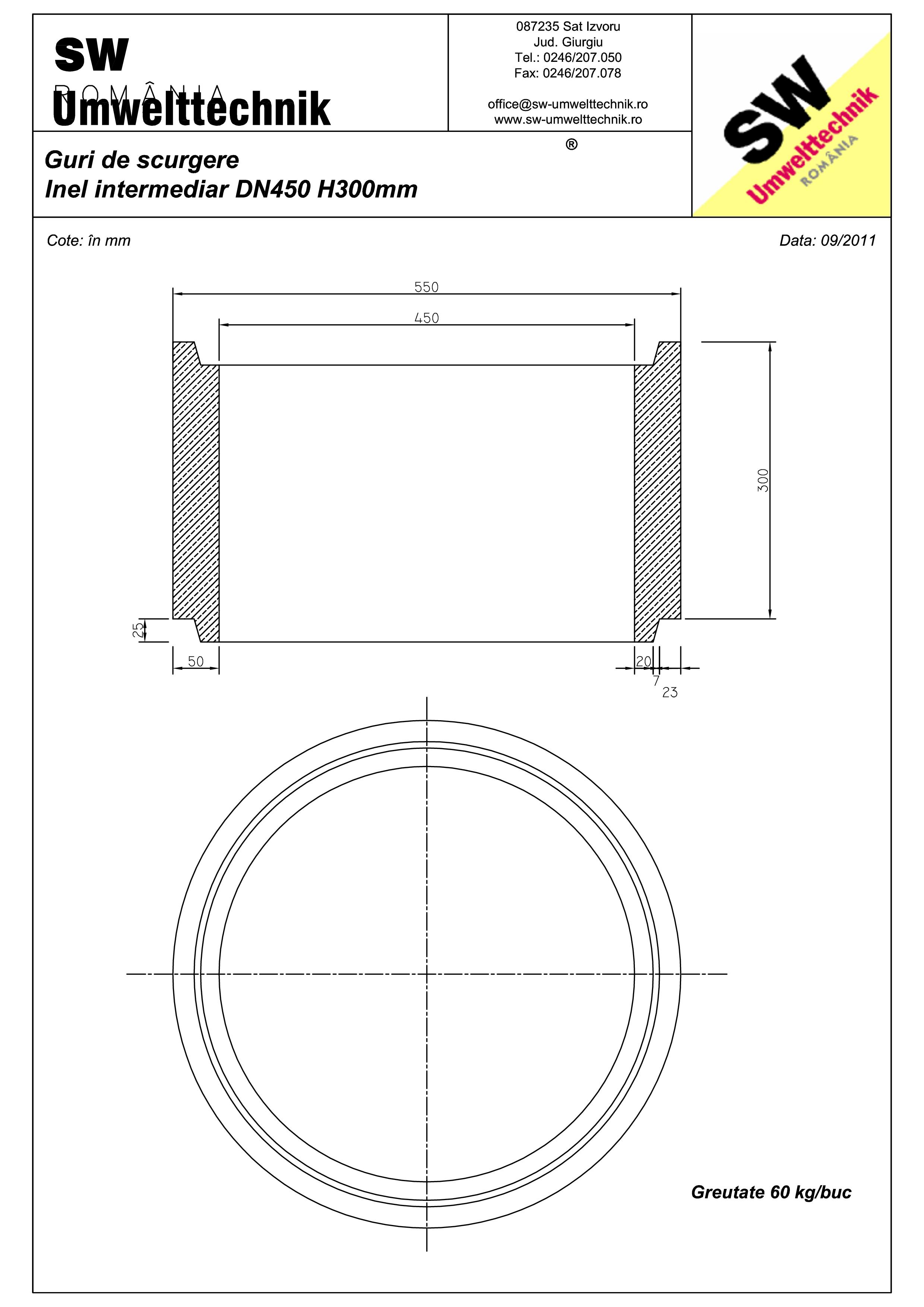 Pagina 1 - CAD-PDF Plan Austria - inel intermediar DN 450 H300 mm SW UMWELTTECHNIK Detaliu de produs...