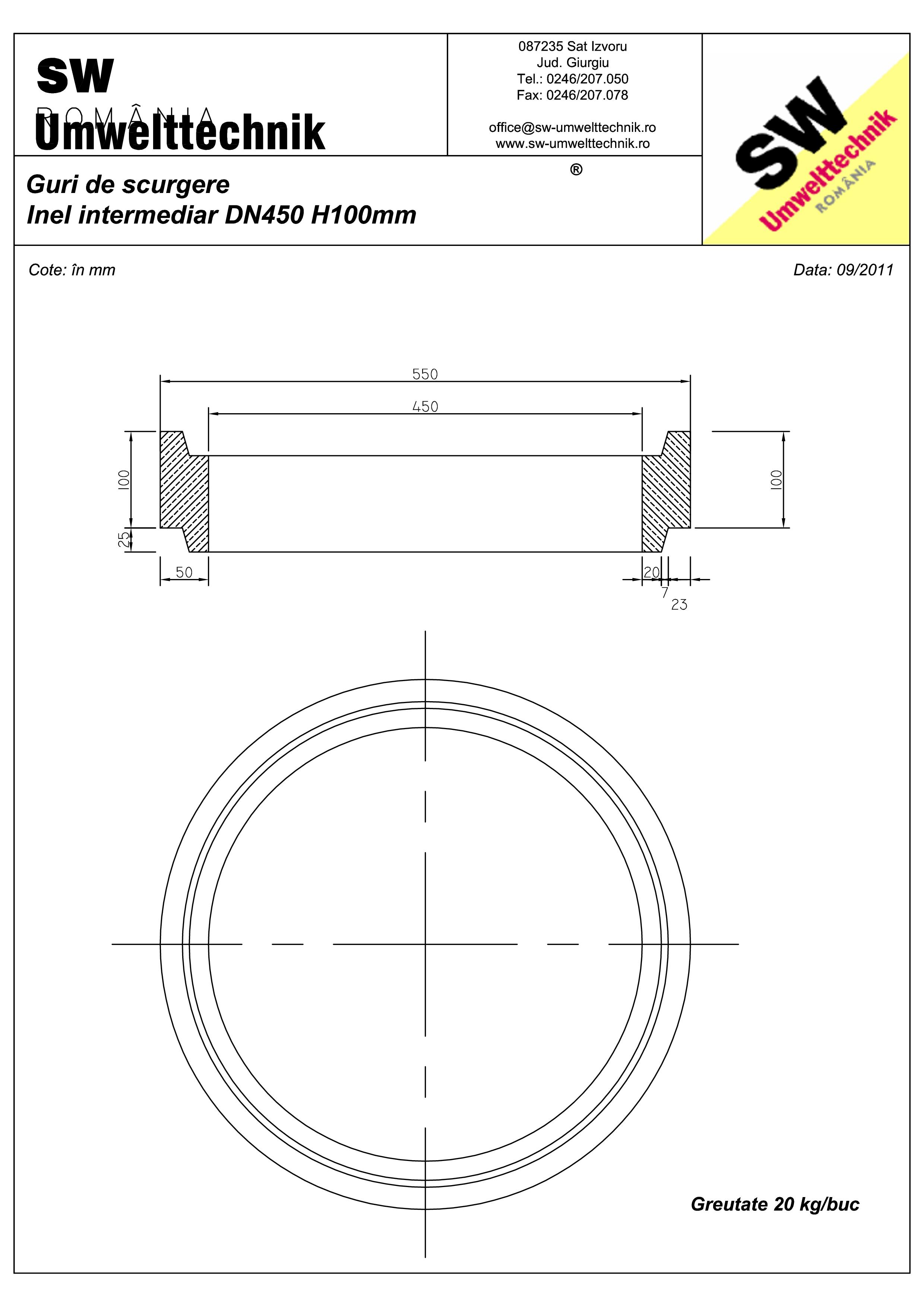 Pagina 1 - CAD-PDF Plan Austria - inel intermediar DN450 H100 mm SW UMWELTTECHNIK Detaliu de produs
