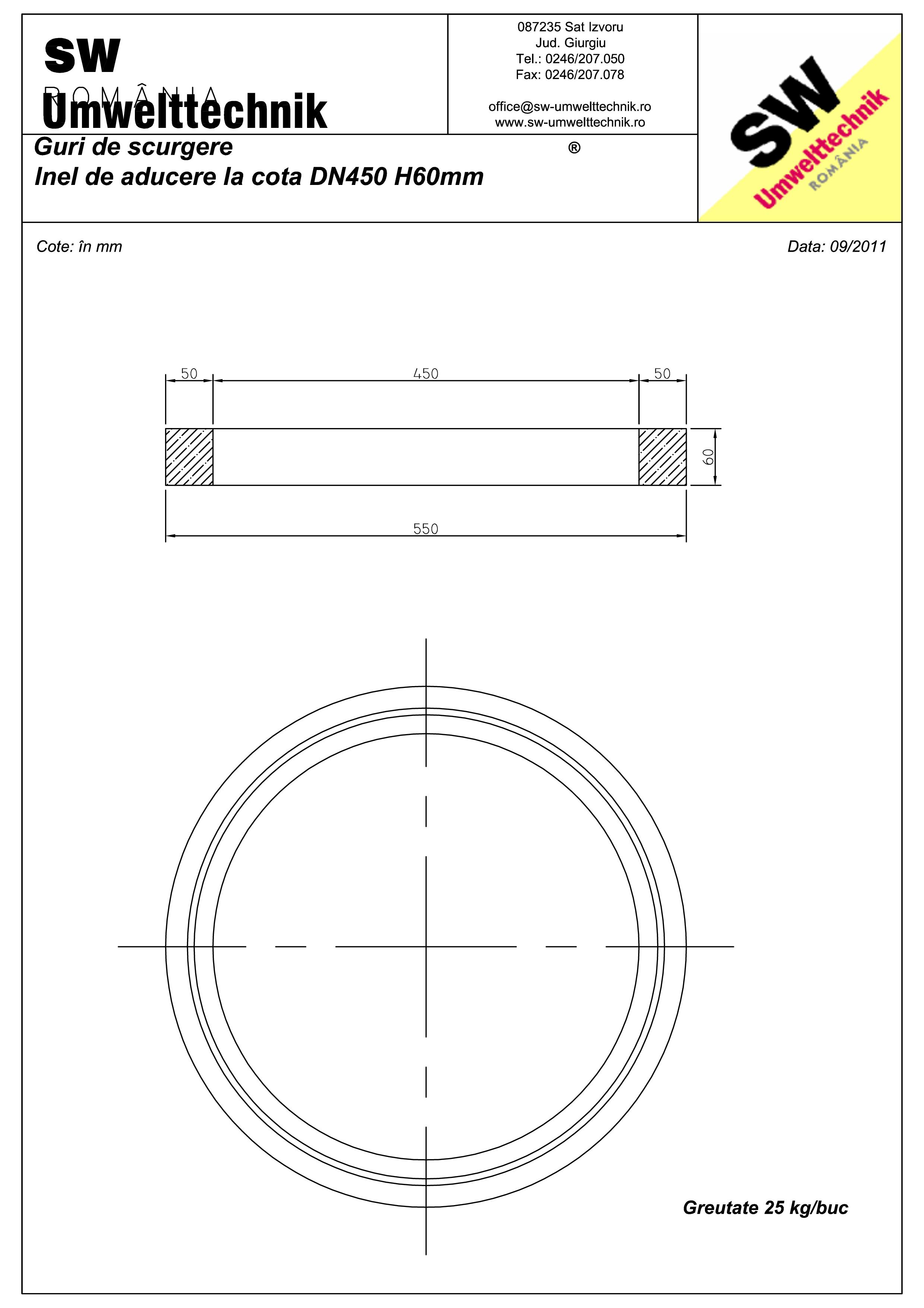 Pagina 1 - CAD-PDF Plan Austria - inel de aducere la cota DN450 H60 mm SW UMWELTTECHNIK Detaliu de...