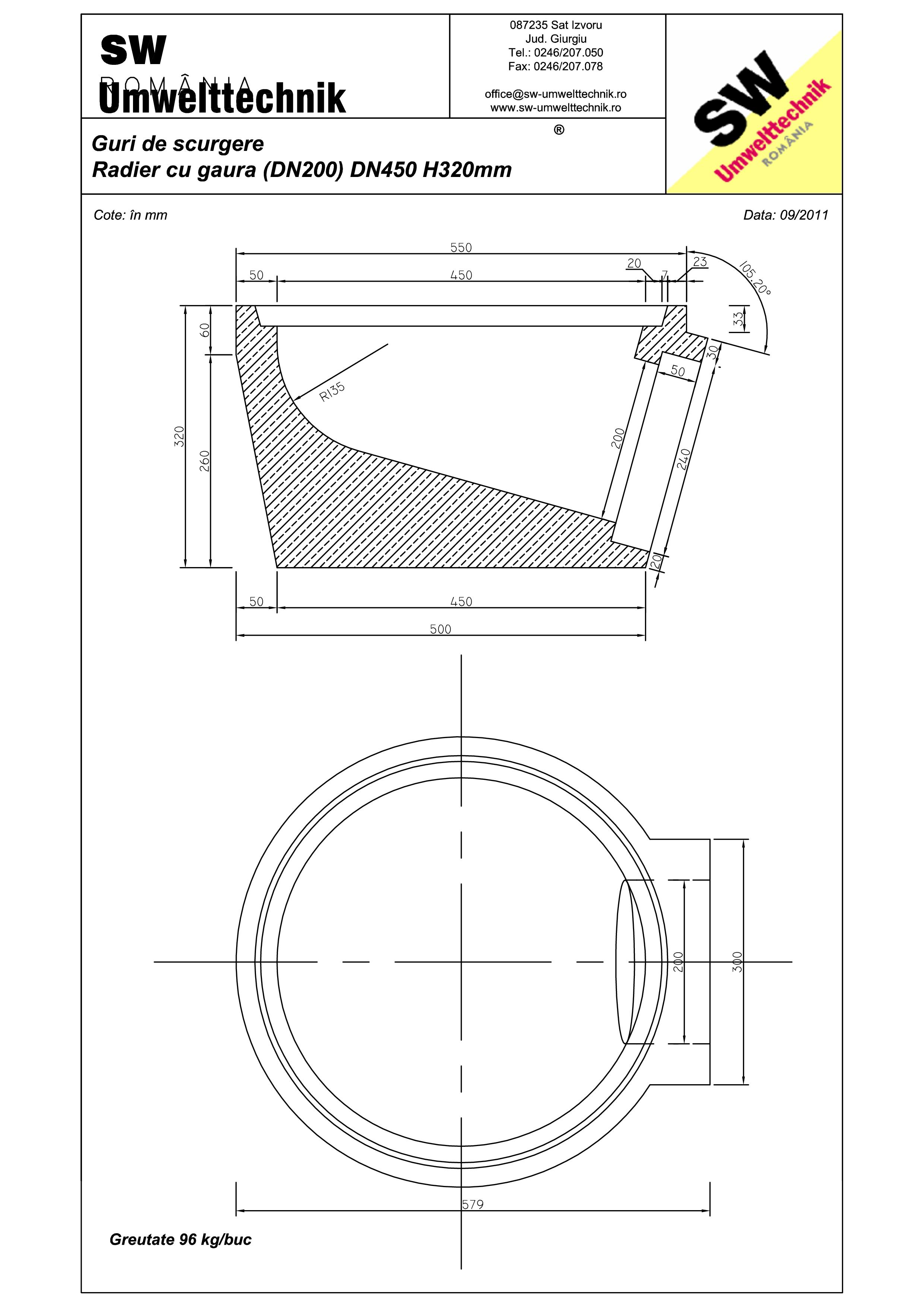 Pagina 1 - CAD-PDF Plan Austria - radier cu gaura (DN200) DN450 H320 mm SW UMWELTTECHNIK Detaliu de ...