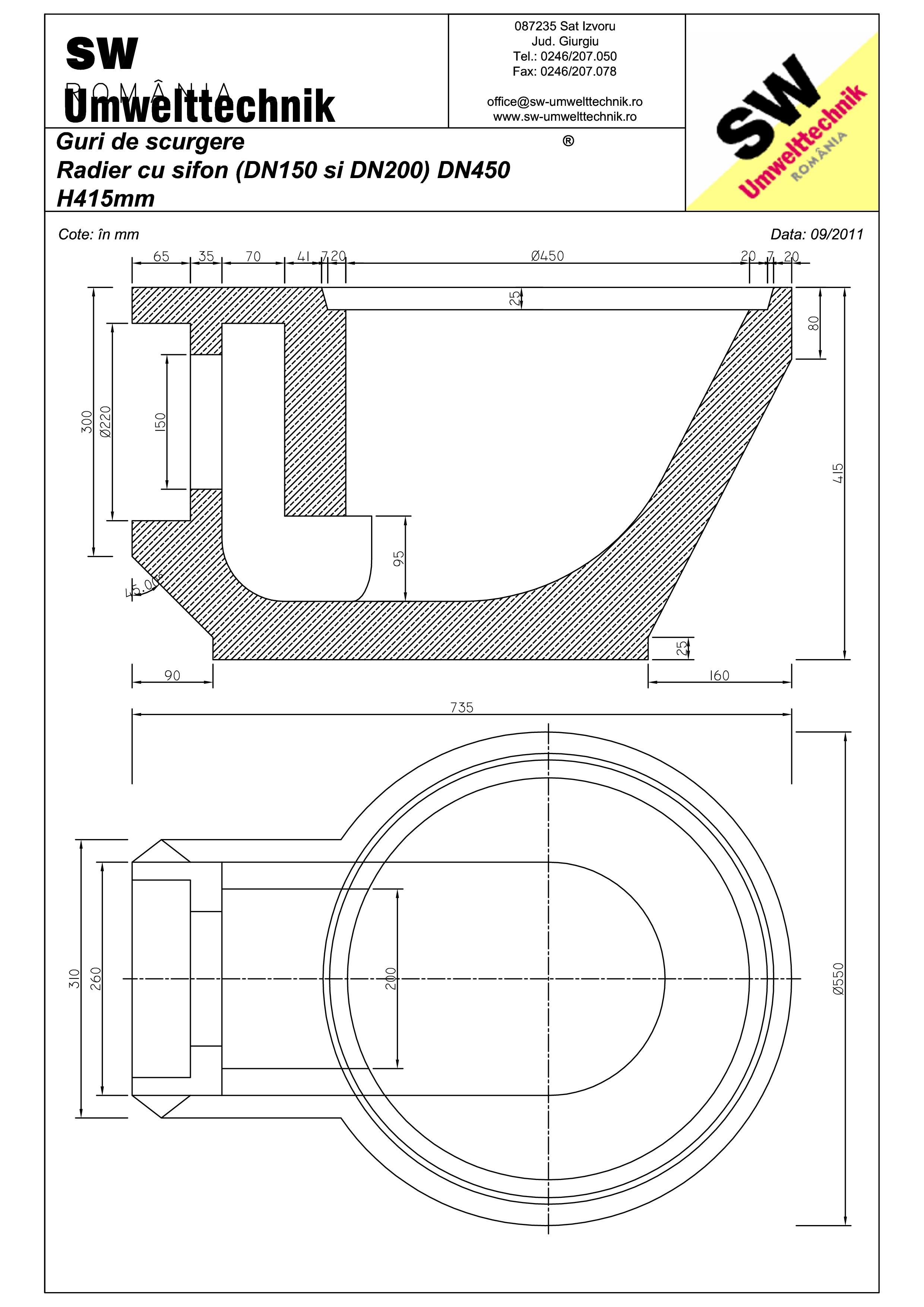 Pagina 1 - CAD-PDF Plan Austria - radier cu sifon (DN150 / DN200) DN450 SW UMWELTTECHNIK Detaliu de ...