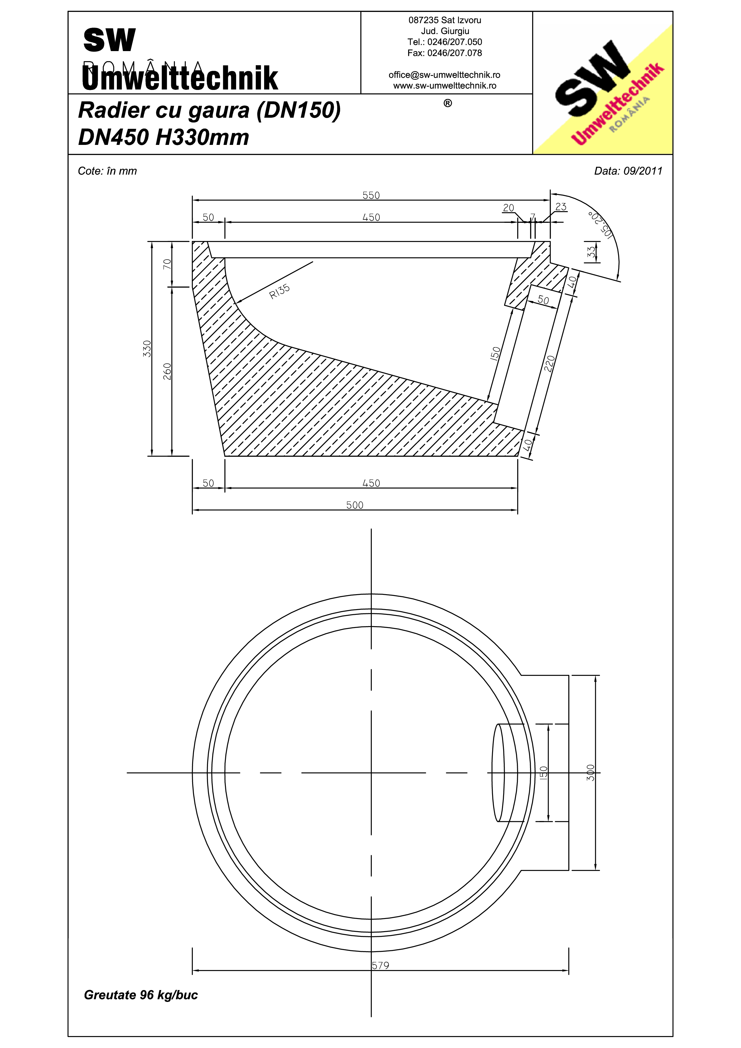 Pagina 1 - CAD-PDF Plan Austria - radier cu gaura DN150 SW UMWELTTECHNIK Detaliu de produs