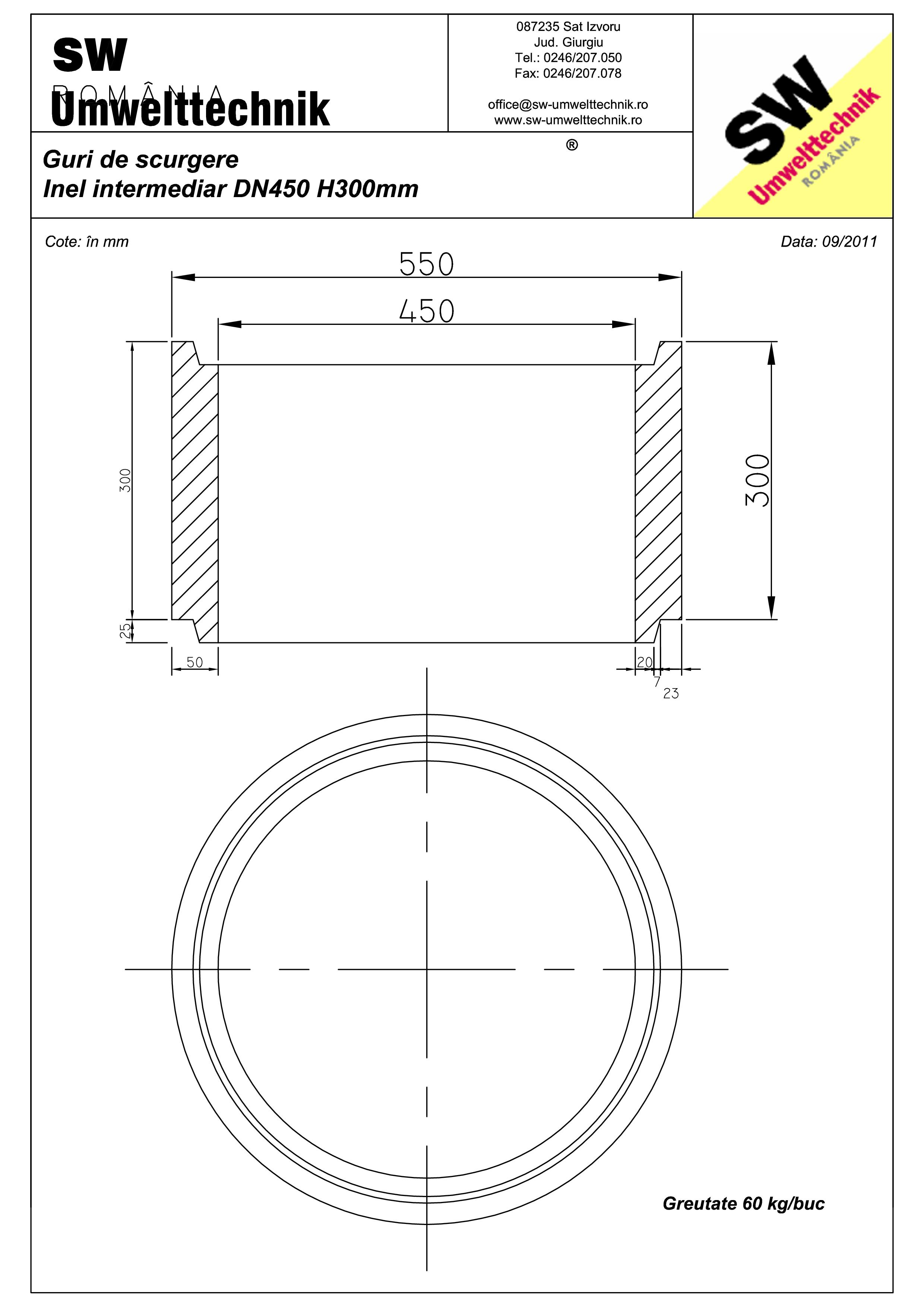 Pagina 1 - CAD-PDF Plan Ortisoara - inel intermediar DN 450 H300mm SW UMWELTTECHNIK Detaliu de...