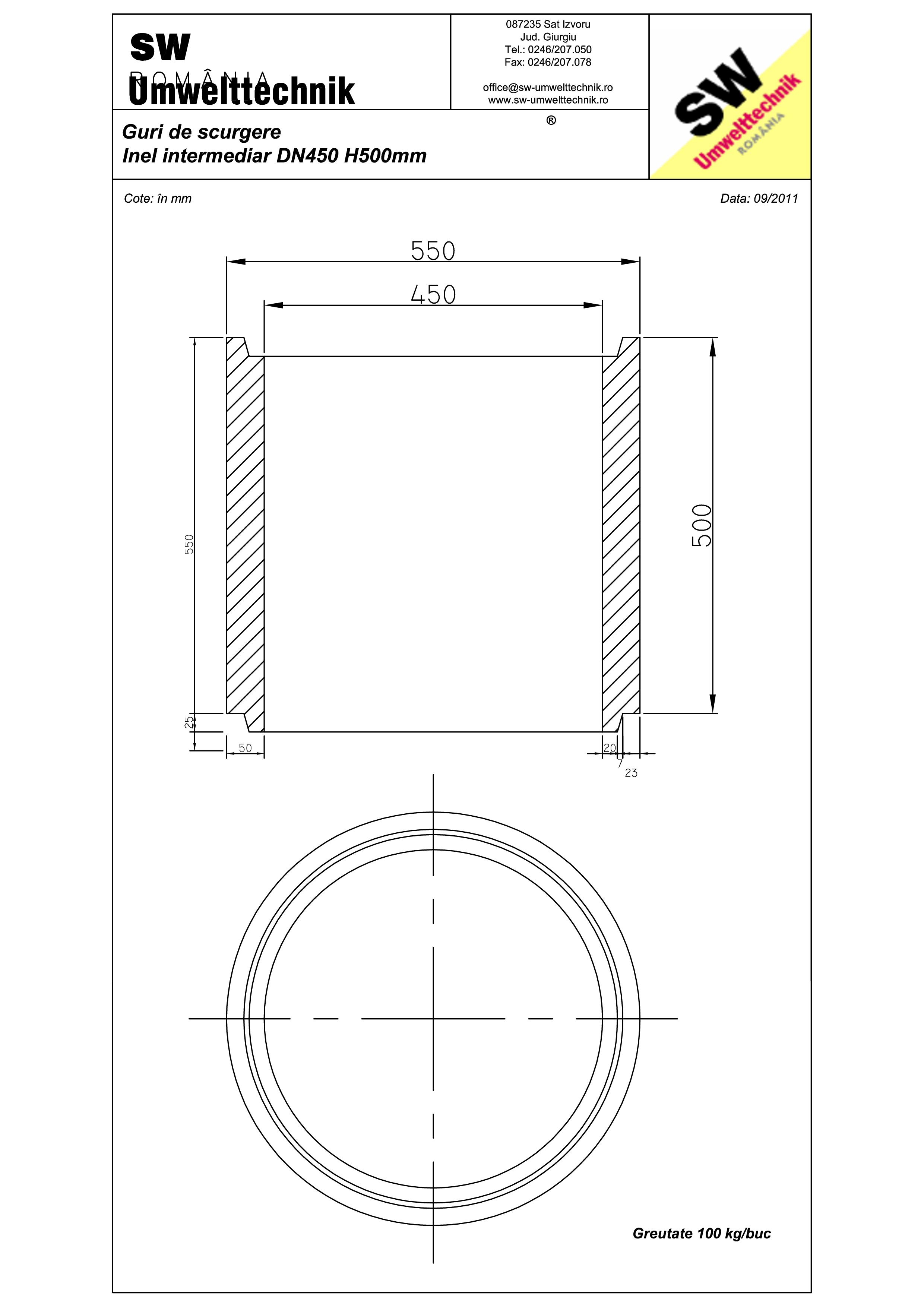 Pagina 1 - CAD-PDF Plan Ortisoara - inel intermediar DN 450 H500mm SW UMWELTTECHNIK Detaliu de...
