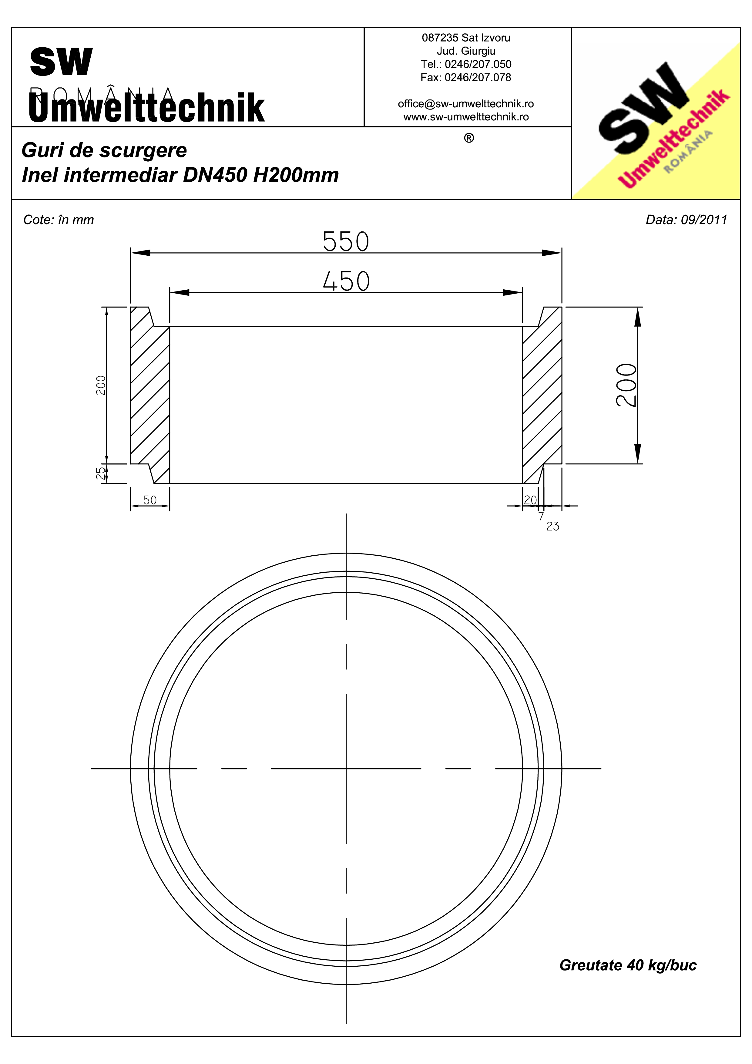 Pagina 1 - CAD-PDF Plan Ortisoara - inel intermediar DN 450 H200mm SW UMWELTTECHNIK Detaliu de...
