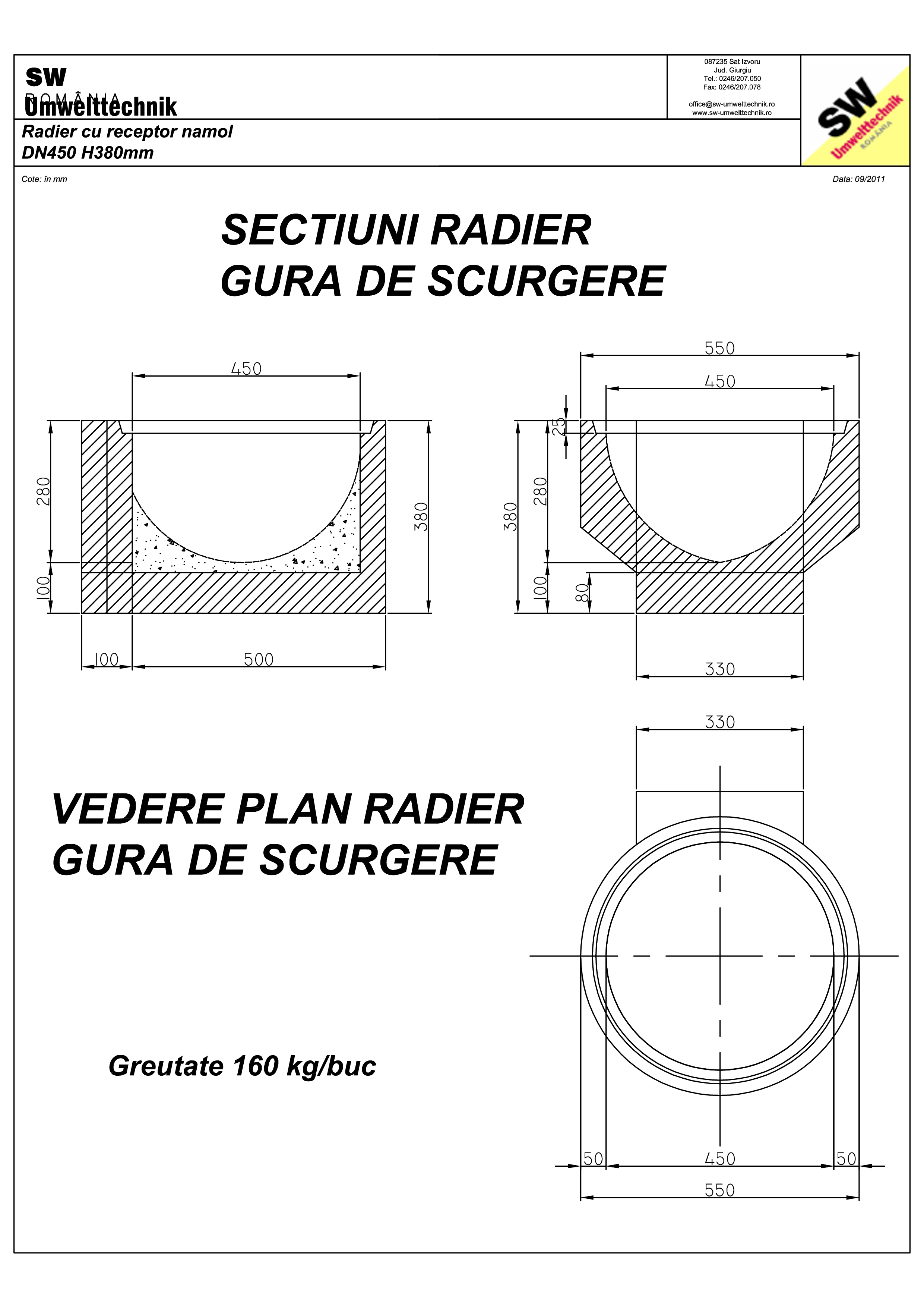 Pagina 1 - CAD-PDF Plan Ortisoara - radier cu receptor namol SW UMWELTTECHNIK Detaliu de produs