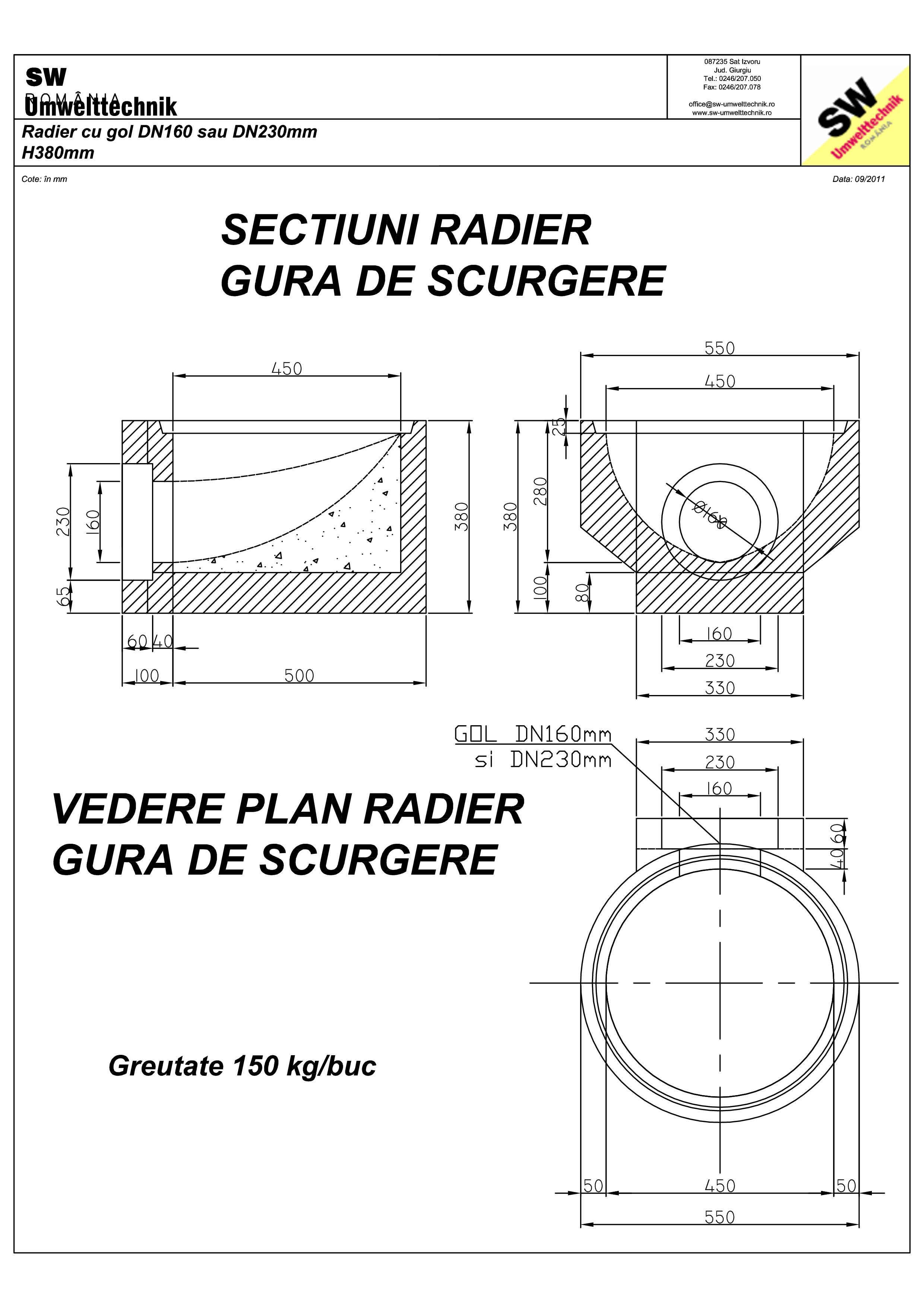 Pagina 1 - CAD-PDF Plan Ortisoara - radier cu gol DN160 / DN230 H380 mm SW UMWELTTECHNIK Detaliu de ...
