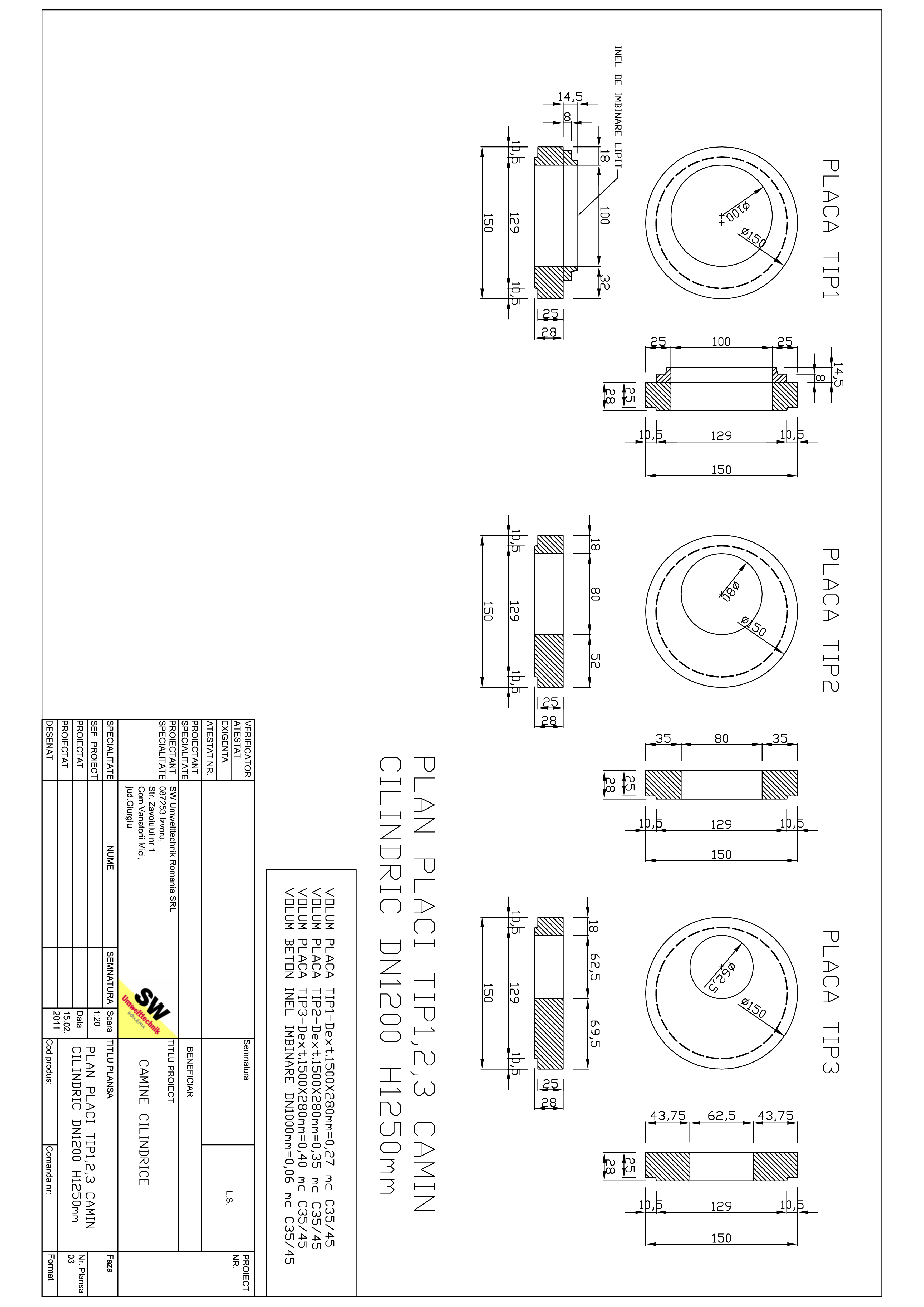 Pagina 1 - CAD-PDF Placa acoperire camin cilindric DN1,2 H1,25m SW UMWELTTECHNIK Detaliu de produs