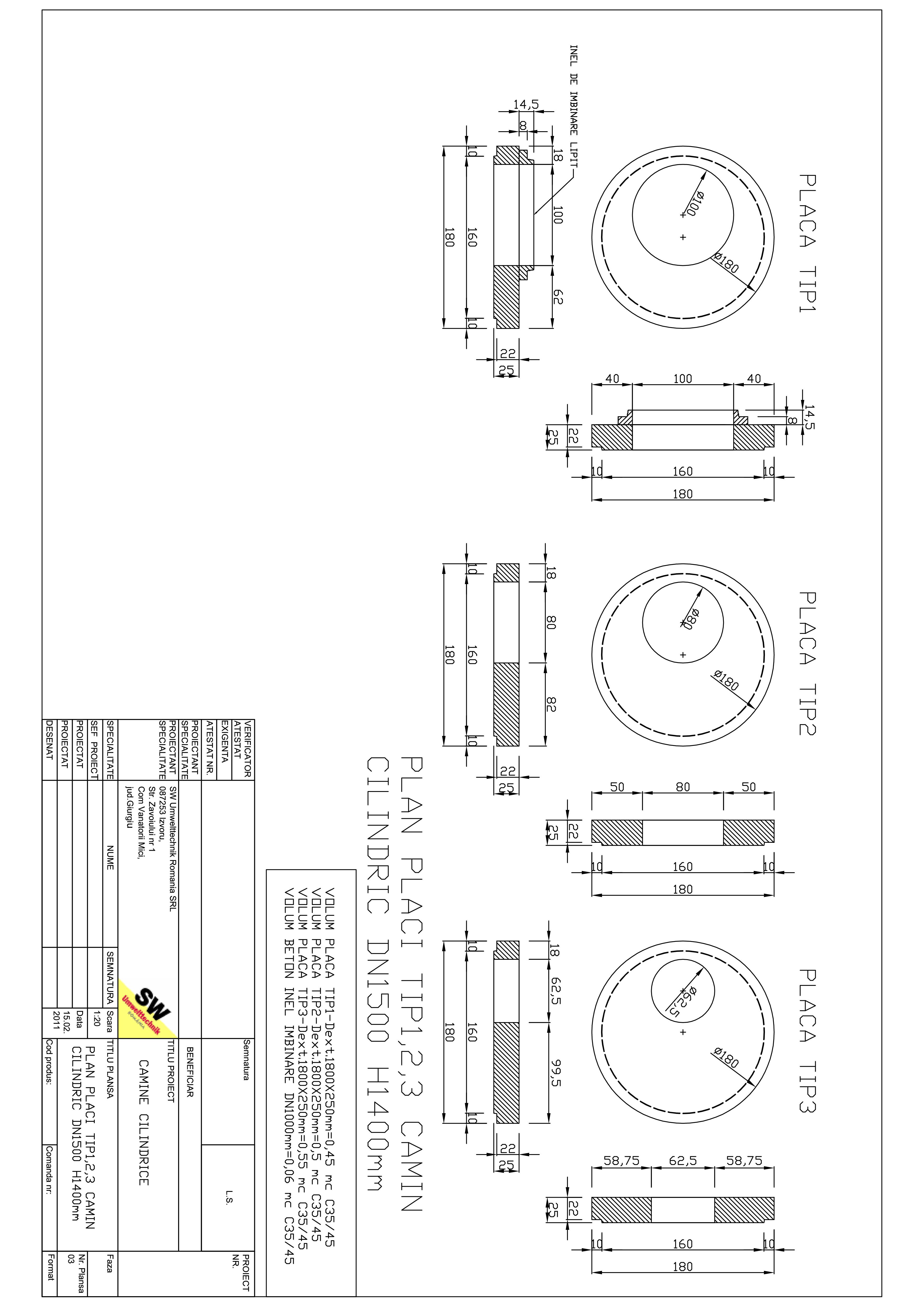 Pagina 1 - CAD-PDF Placa acoperire camin cilindric DN1,5 H1,4m SW UMWELTTECHNIK Detaliu de produs
