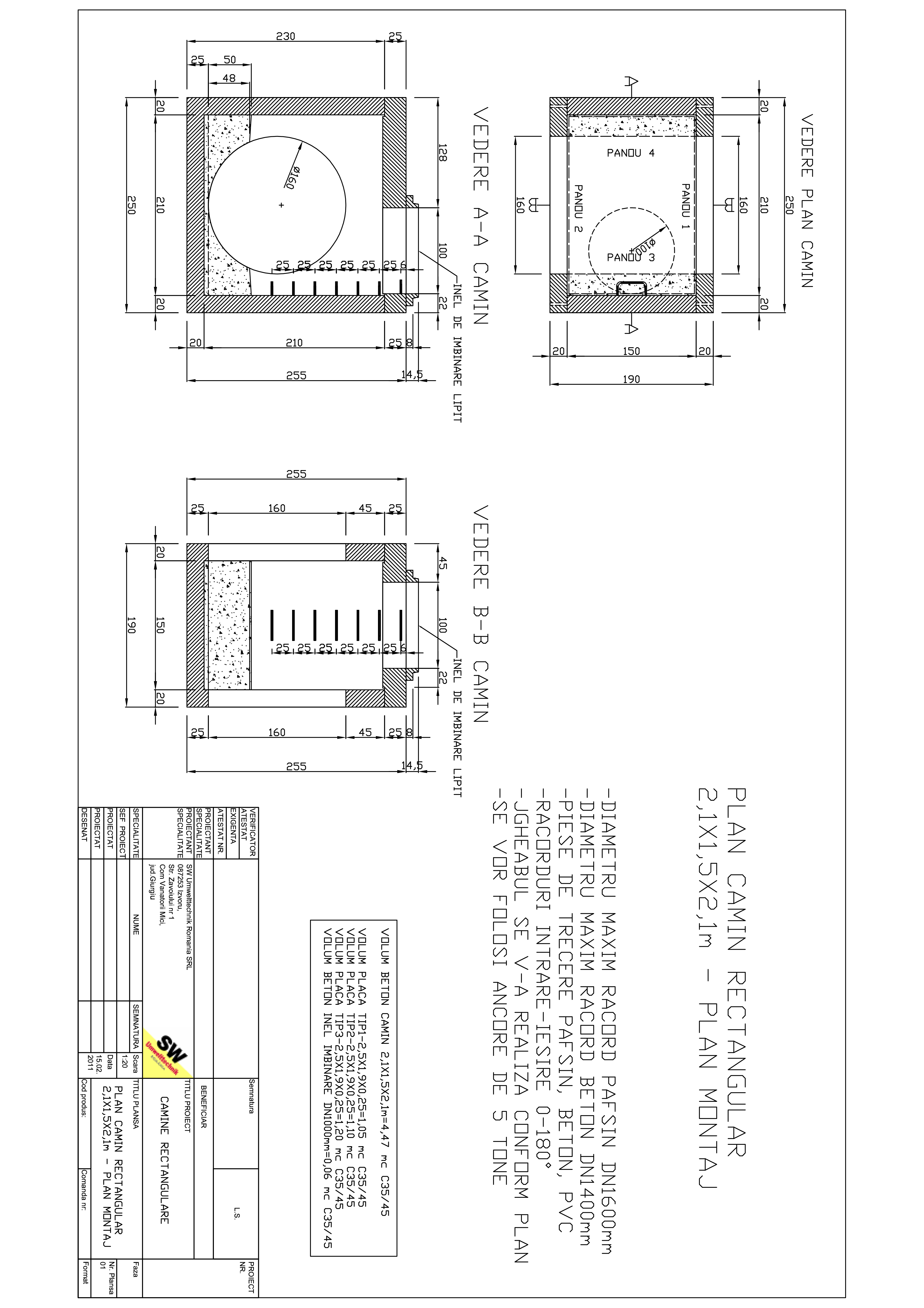 Pagina 1 - CAD-PDF Camin rectangular 2,1X1,5X2,1m SW UMWELTTECHNIK Detaliu de produs