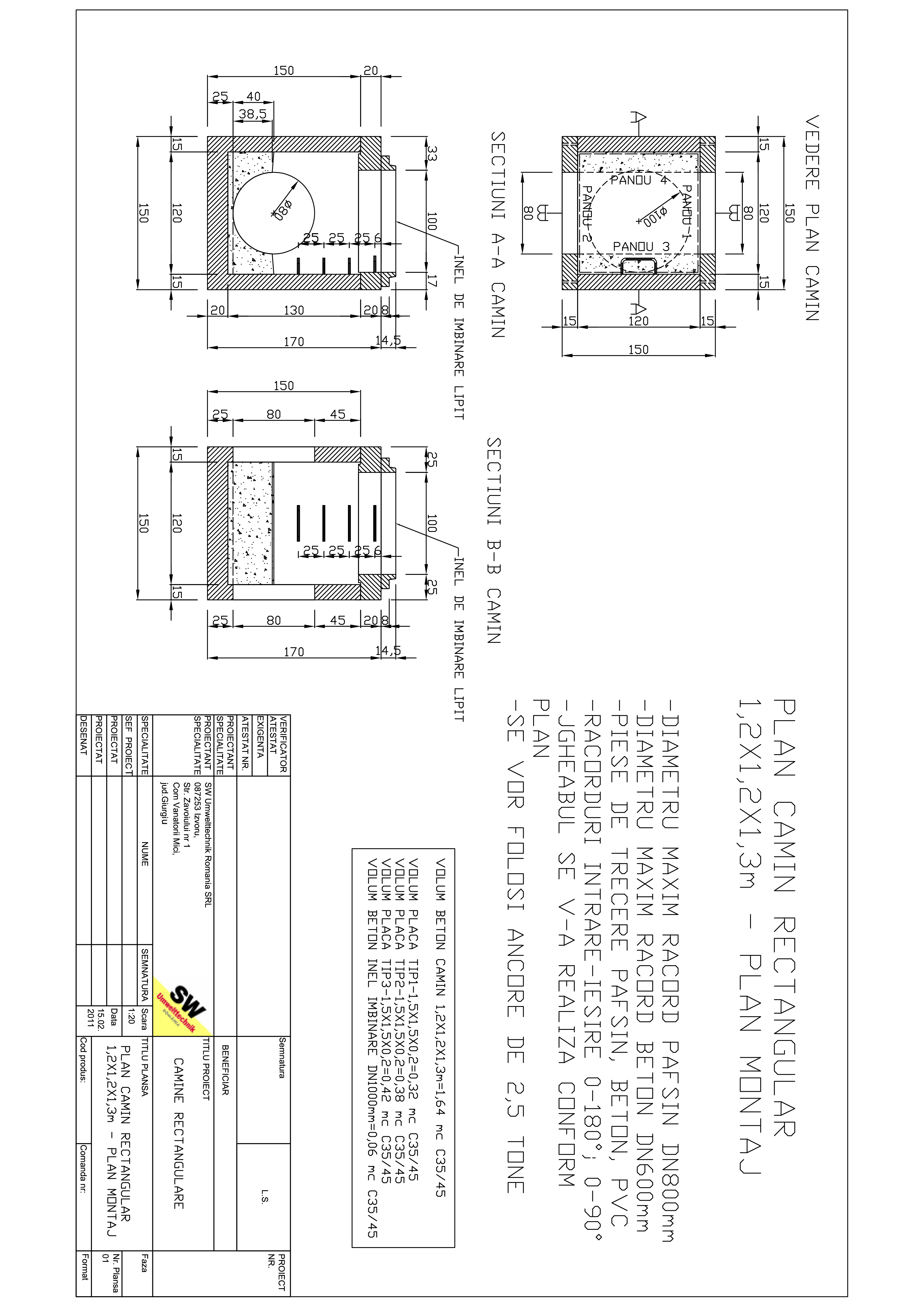 Pagina 1 - CAD-PDF Camin rectangular Dint.1,2x1,2x1,3m SW UMWELTTECHNIK Detaliu de produs