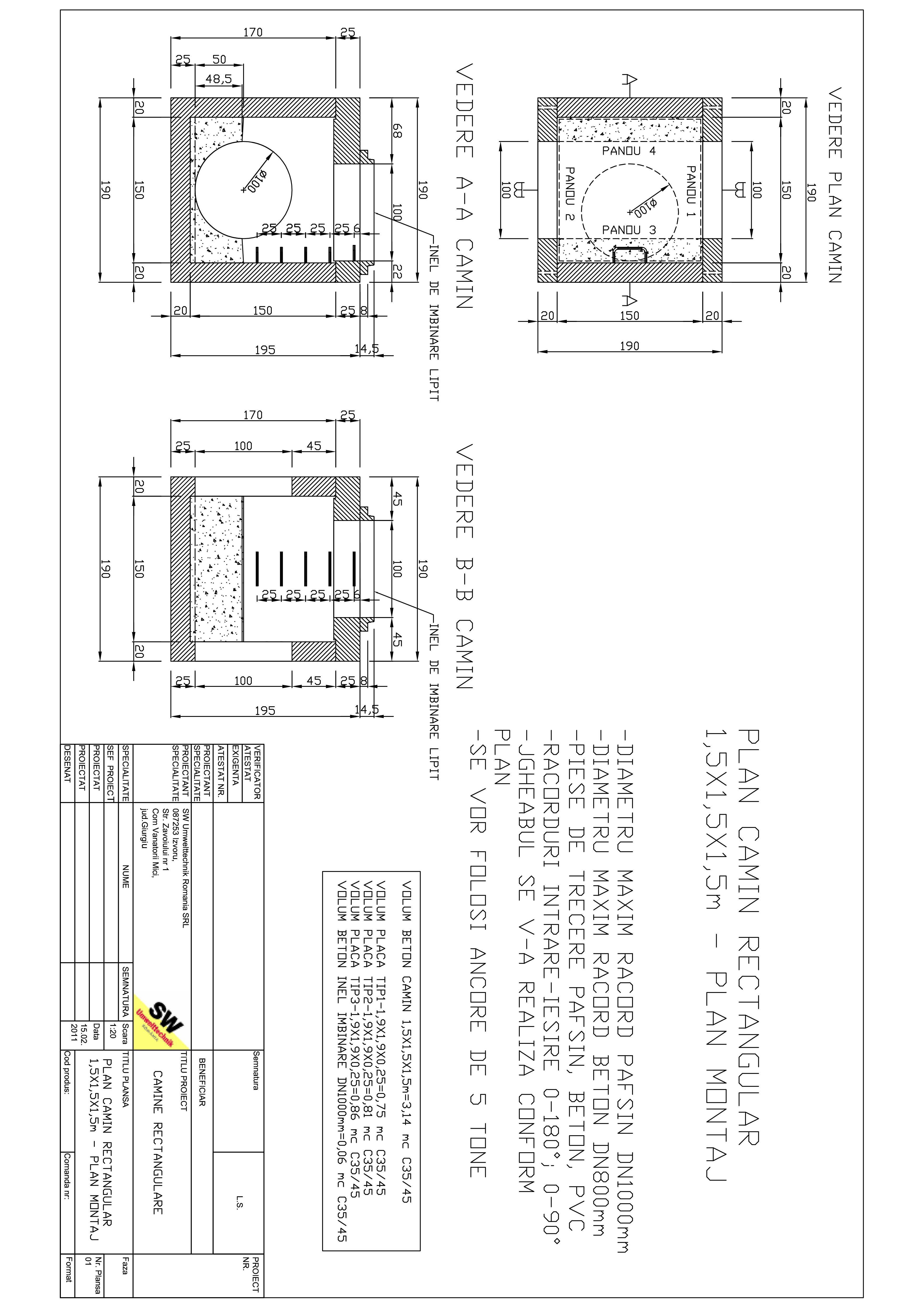 Pagina 1 - CAD-PDF Camin rectangular Dint.1,5x1,5x1,5m SW UMWELTTECHNIK Detaliu de produs