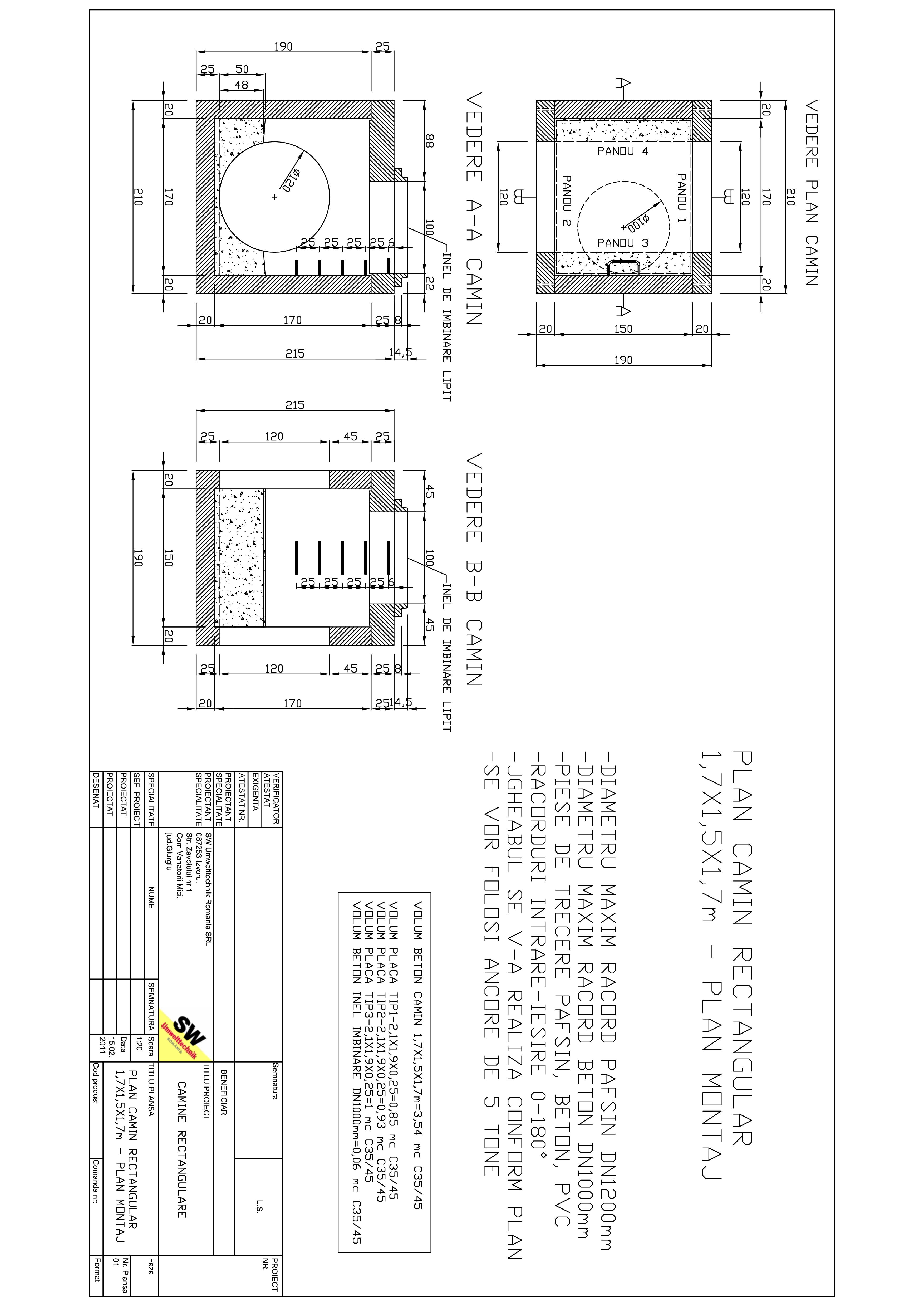 Pagina 1 - CAD-PDF Camin rectangular Dint.1,7x1,5x1,7m SW UMWELTTECHNIK Detaliu de produs