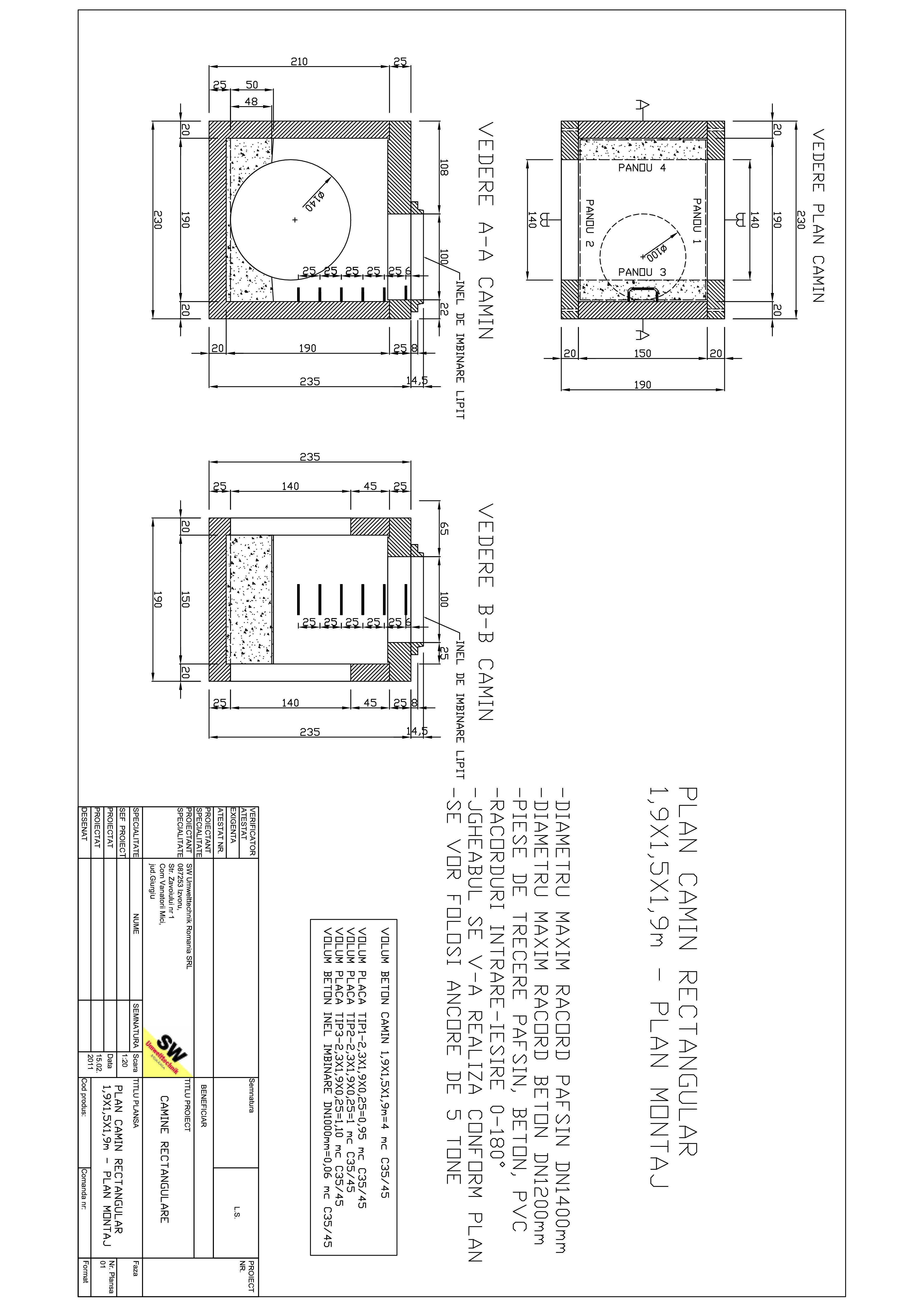 Pagina 1 - CAD-PDF Camin rectangular Dint.1,9x1,5x1,9m SW UMWELTTECHNIK Detaliu de produs