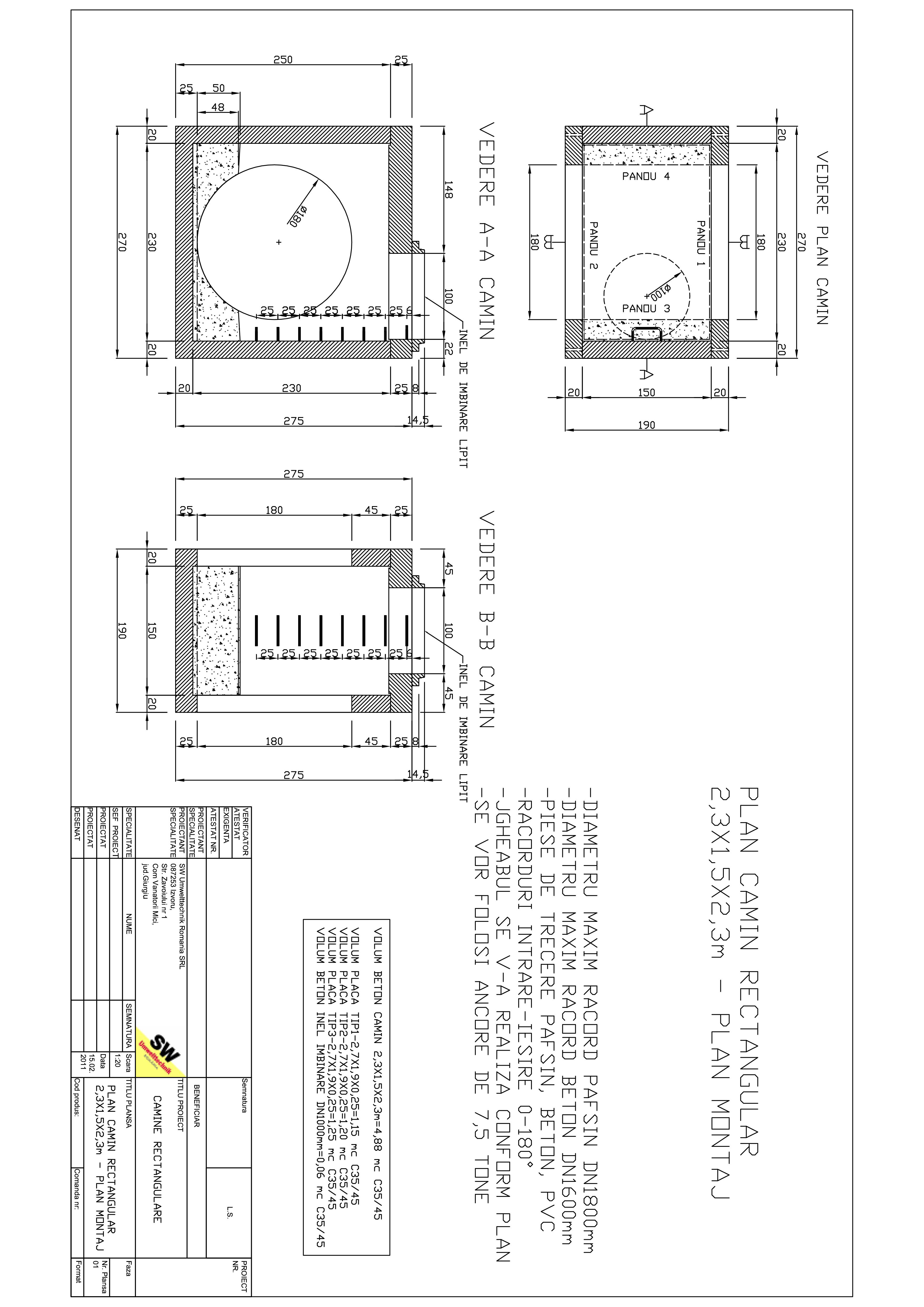 Pagina 1 - CAD-PDF Camin rectangular Dint.2,3X1,5x2,3m SW UMWELTTECHNIK Detaliu de produs