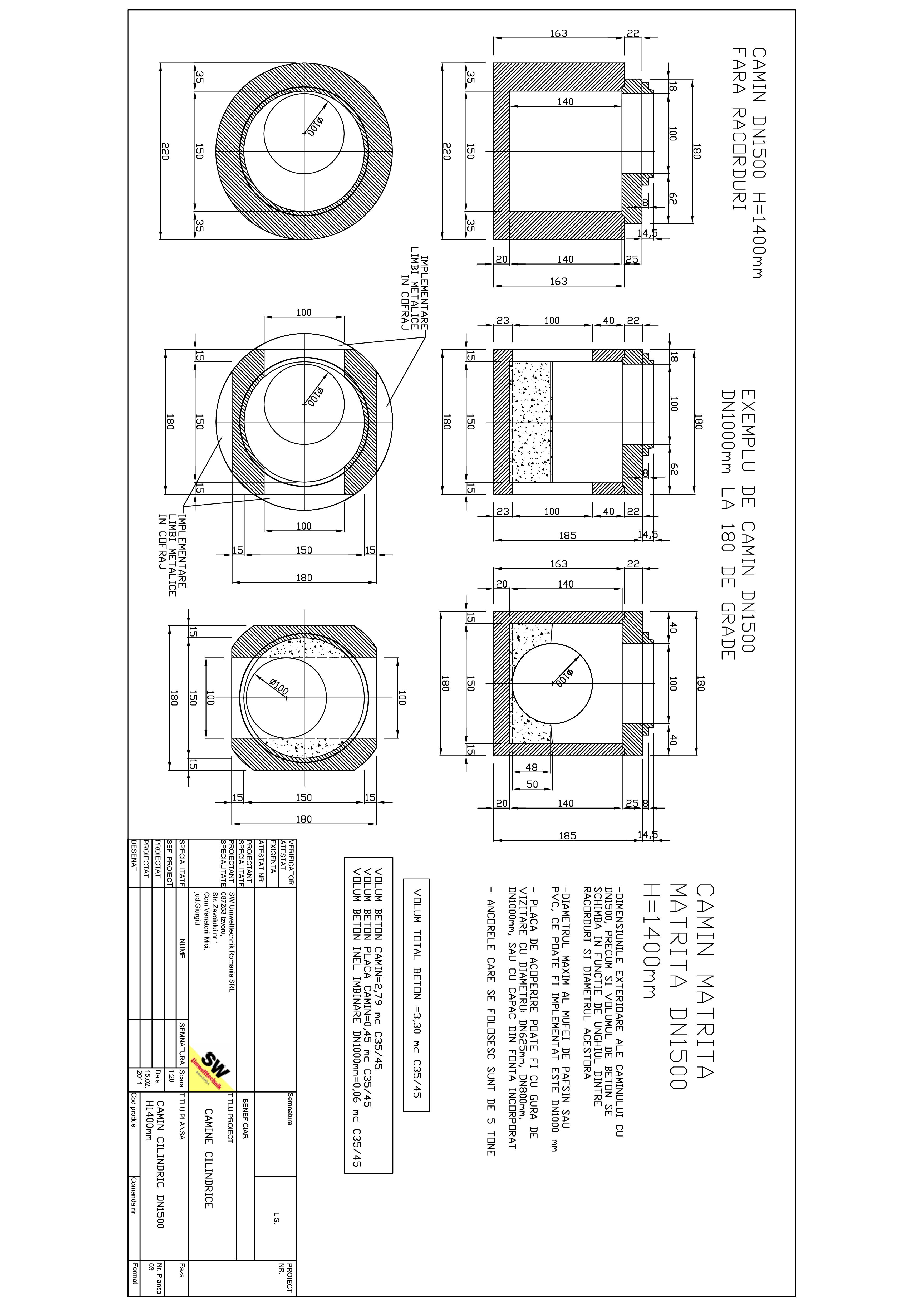Pagina 1 - CAD-PDF Camin rectangular DN1,5 H1,4m SW UMWELTTECHNIK Detaliu de produs