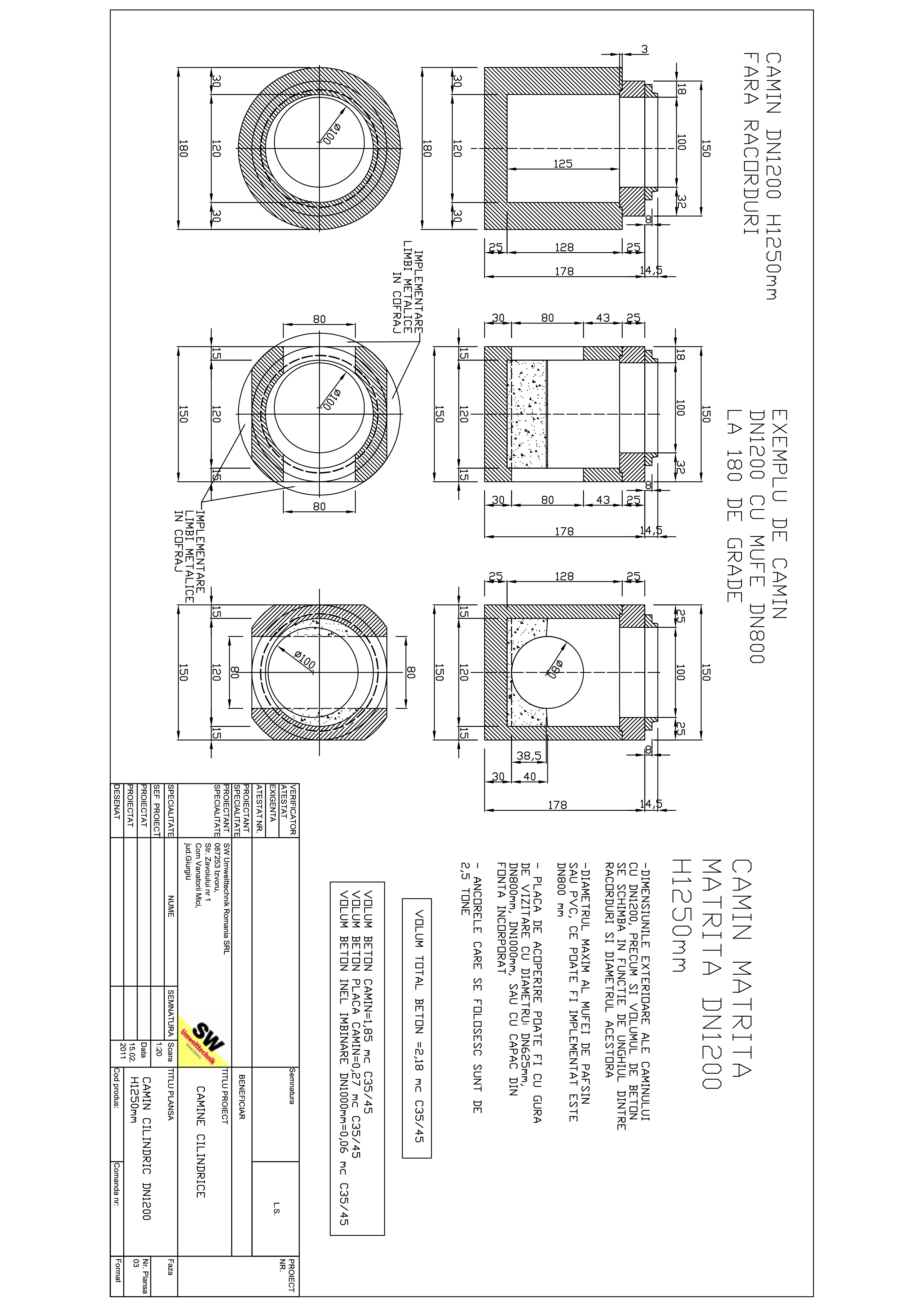 Pagina 1 - CAD-PDF Camin rectangular matrita DN1,2 H1,25m SW UMWELTTECHNIK Detaliu de produs