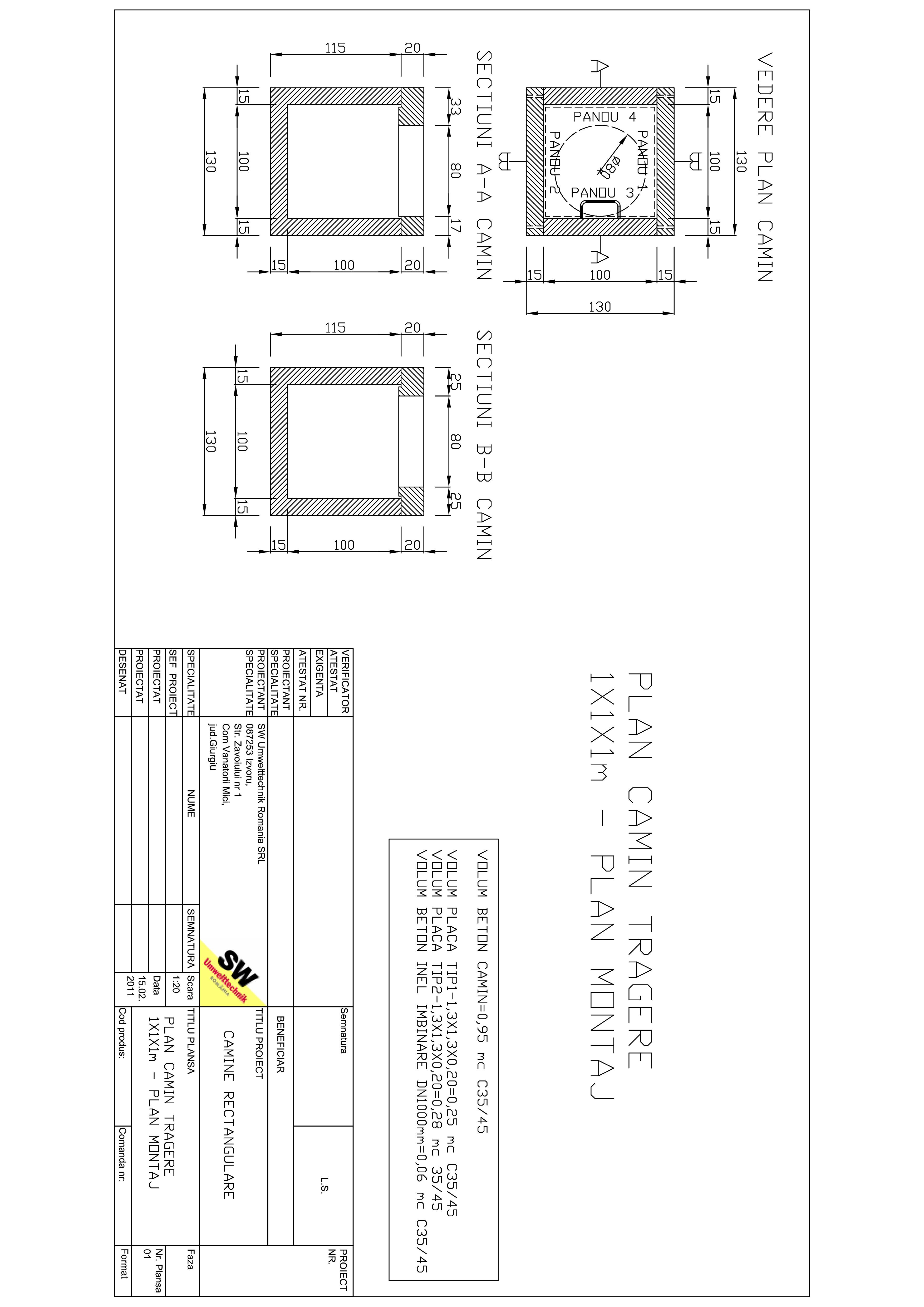 Pagina 1 - CAD-PDF Camin tragere 1X1X1m SW UMWELTTECHNIK Detaliu de produs