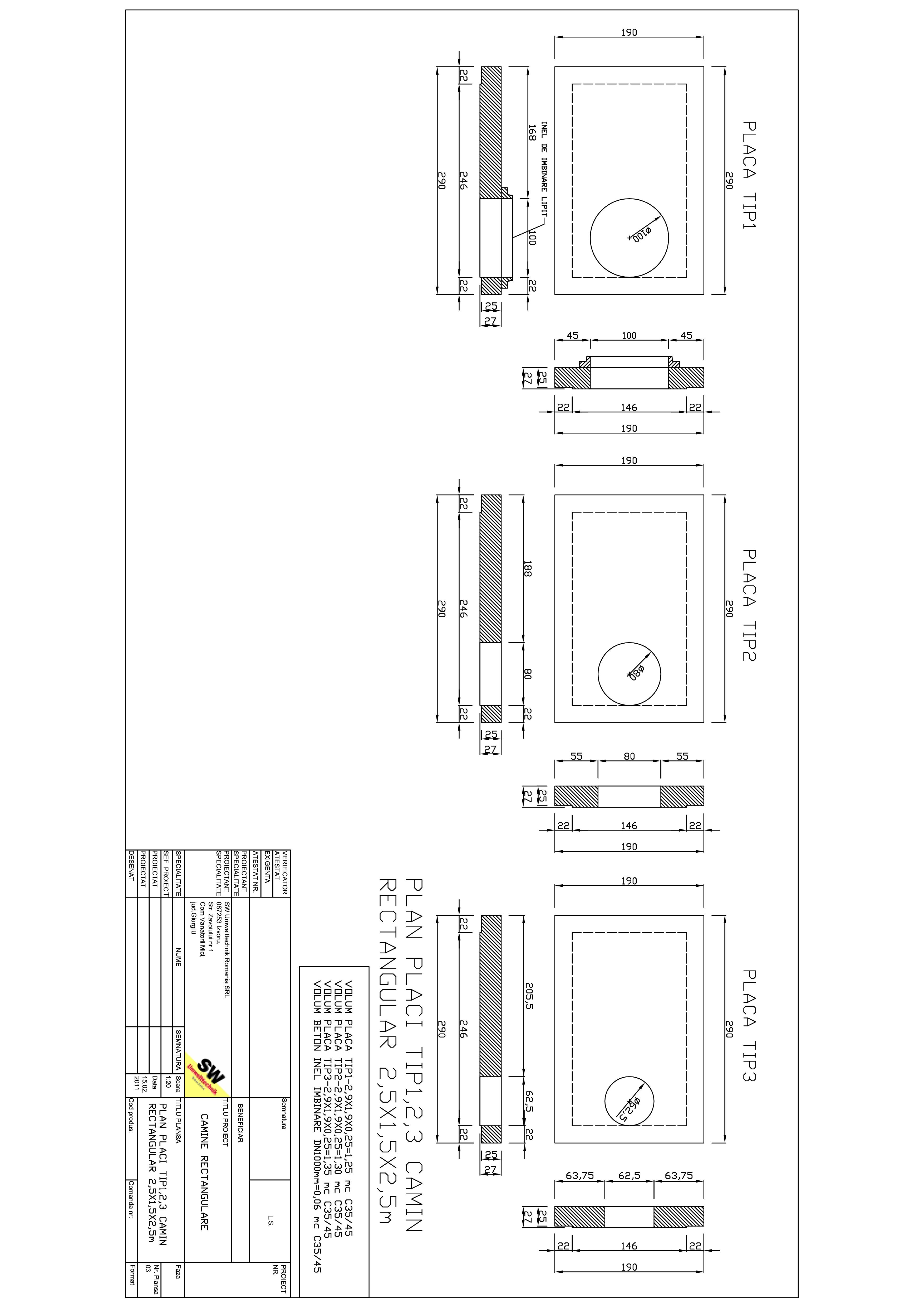 Pagina 1 - CAD-PDF Placa camin rectangular 2,5X1,5X2,5m SW UMWELTTECHNIK Detaliu de produs