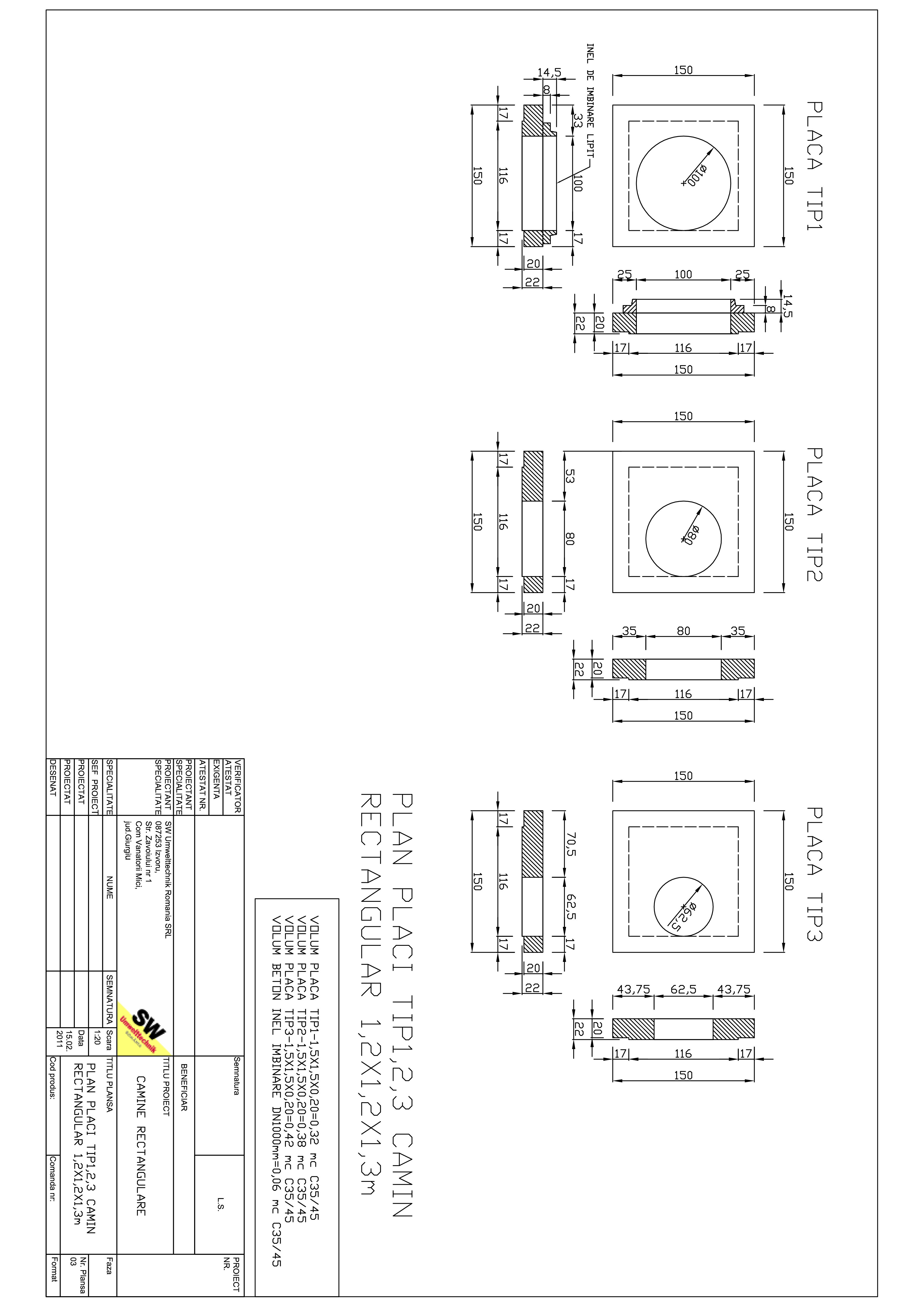 Pagina 1 - CAD-PDF Placa camin rectangular Dint.1,2x1,2x1,3m SW UMWELTTECHNIK Detaliu de produs