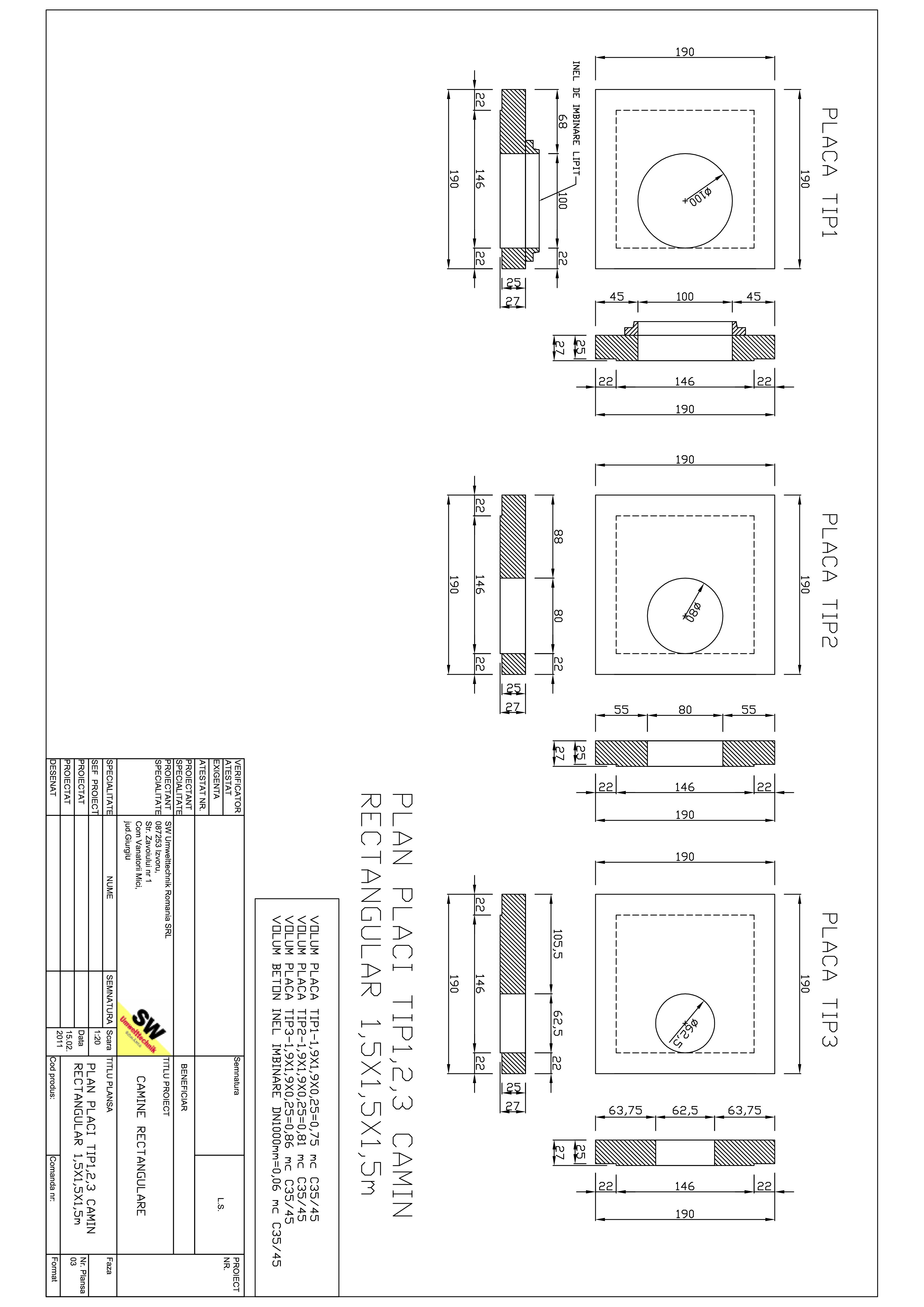 Pagina 1 - CAD-PDF Placa camin rectangular Dint.1,5x1,5x1,5m SW UMWELTTECHNIK Detaliu de produs
