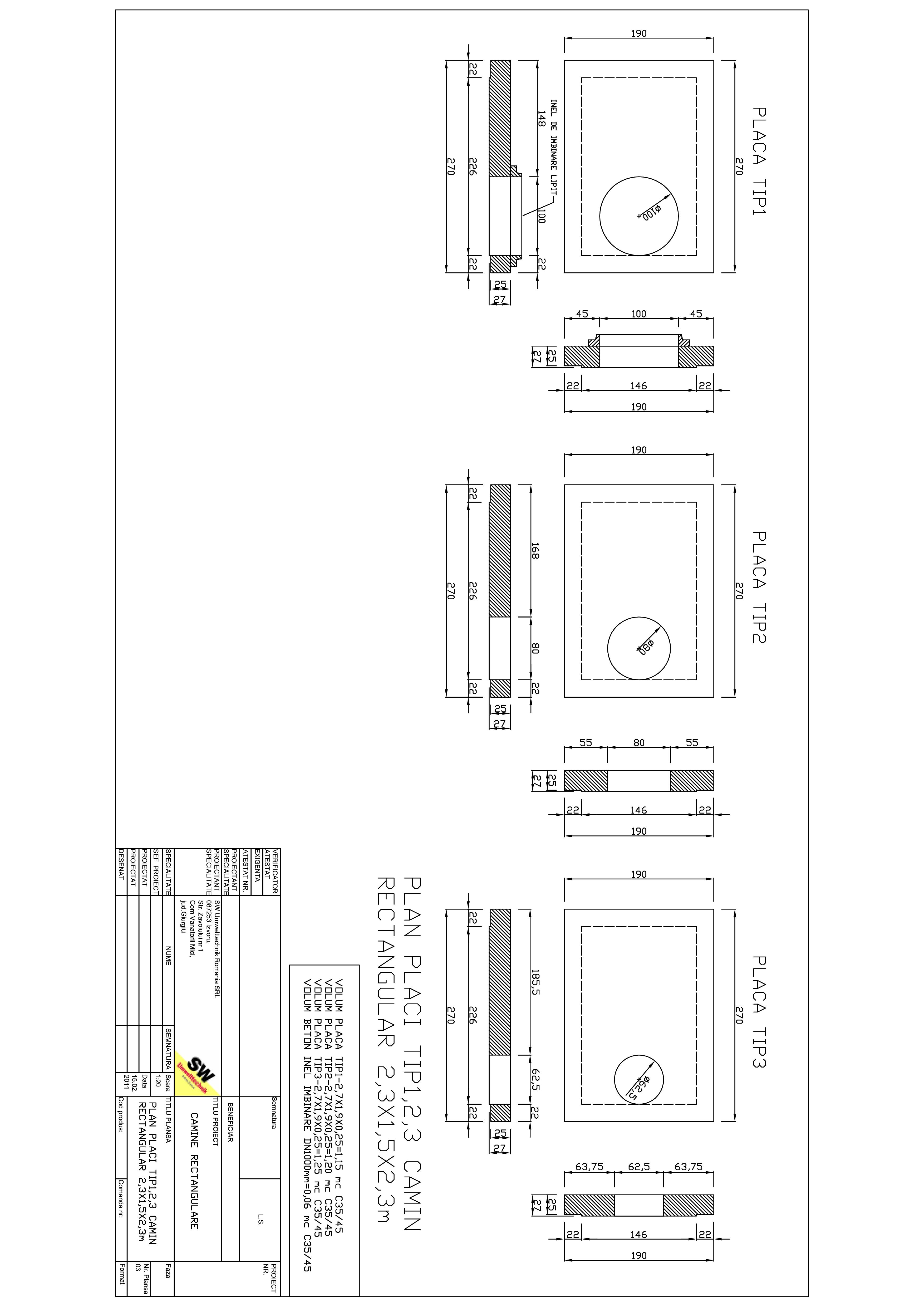 Pagina 1 - CAD-PDF Placa camin rectangular Dint.2,3X1,5x2,3m SW UMWELTTECHNIK Detaliu de produs