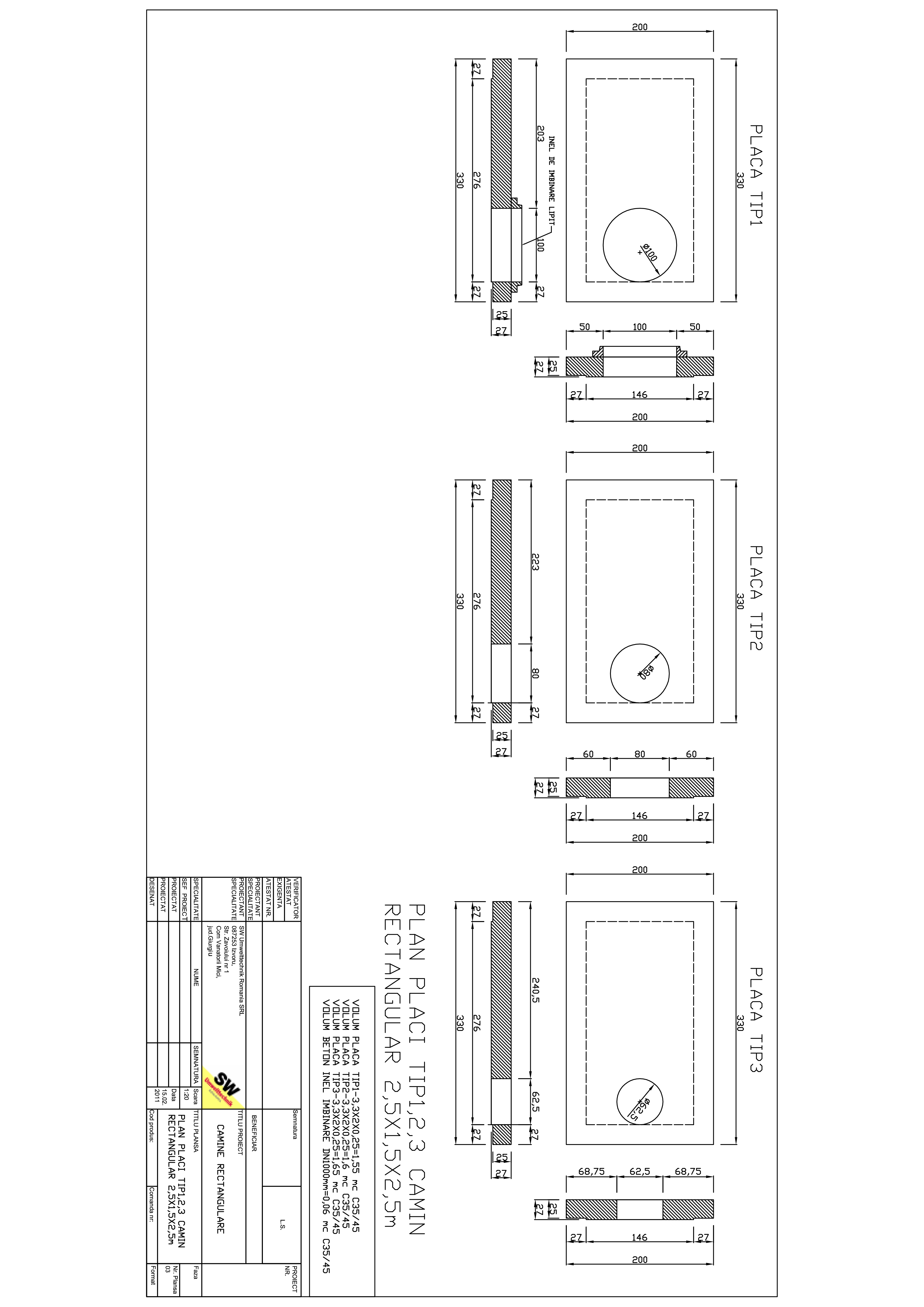 Pagina 1 - CAD-PDF Placa camin rectangular Dint.2,8x1,5x2,75m SW UMWELTTECHNIK Detaliu de produs