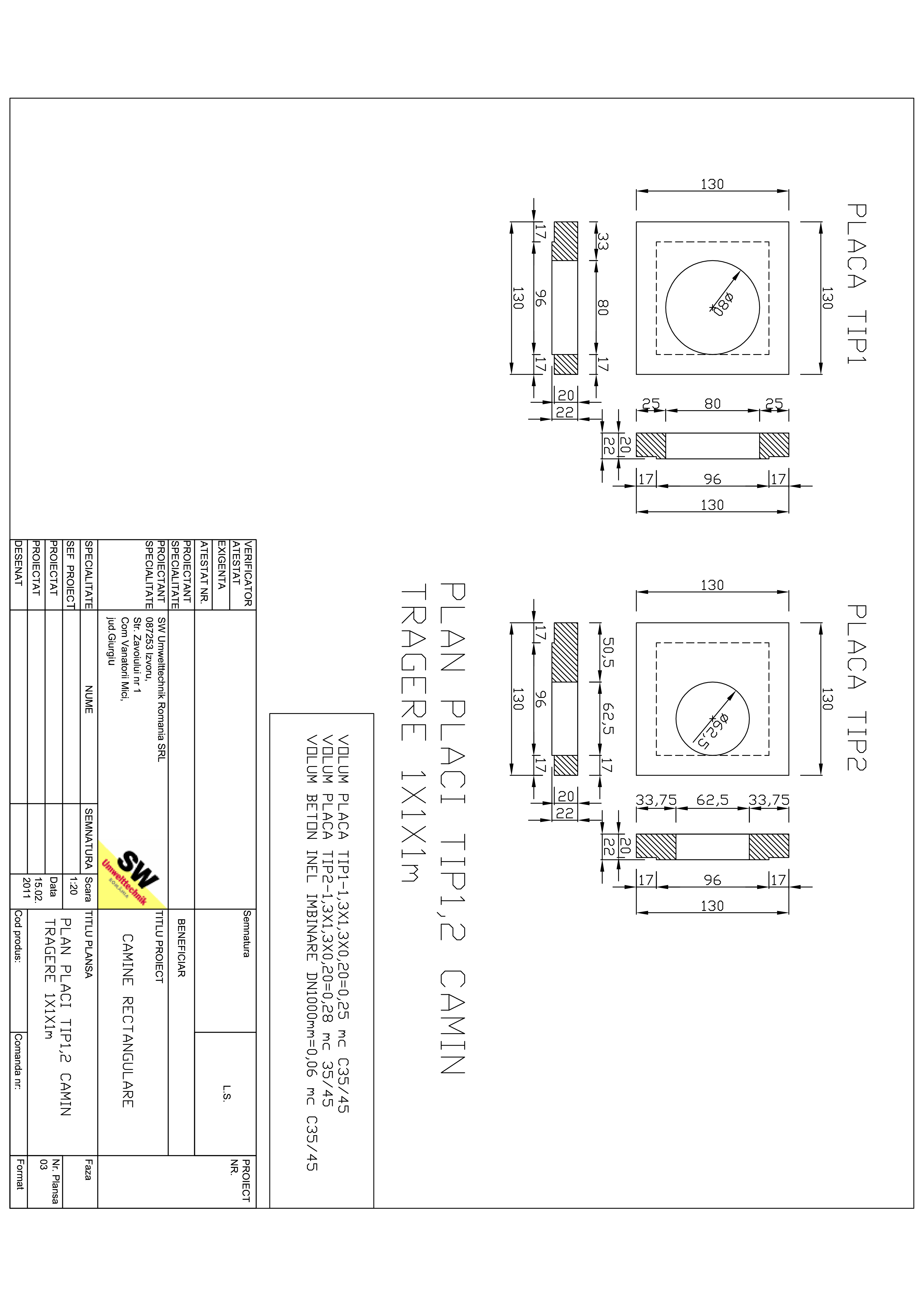 Pagina 1 - CAD-PDF Placa camin tragere rectangular Dint.1x1x1m SW UMWELTTECHNIK Detaliu de produs