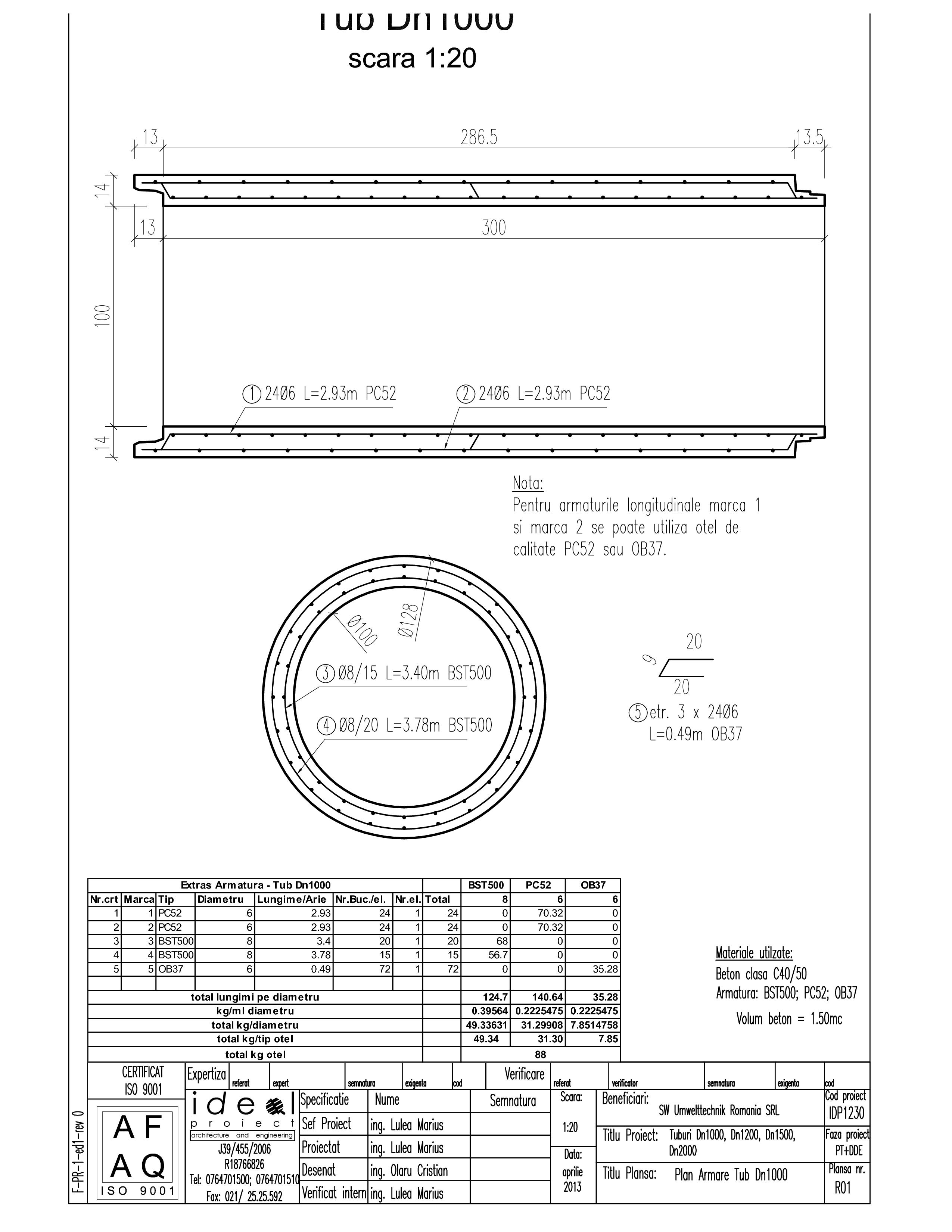 Pagina 1 - CAD-PDF Tub DN1000mm L3m SW UMWELTTECHNIK Detaliu de produs