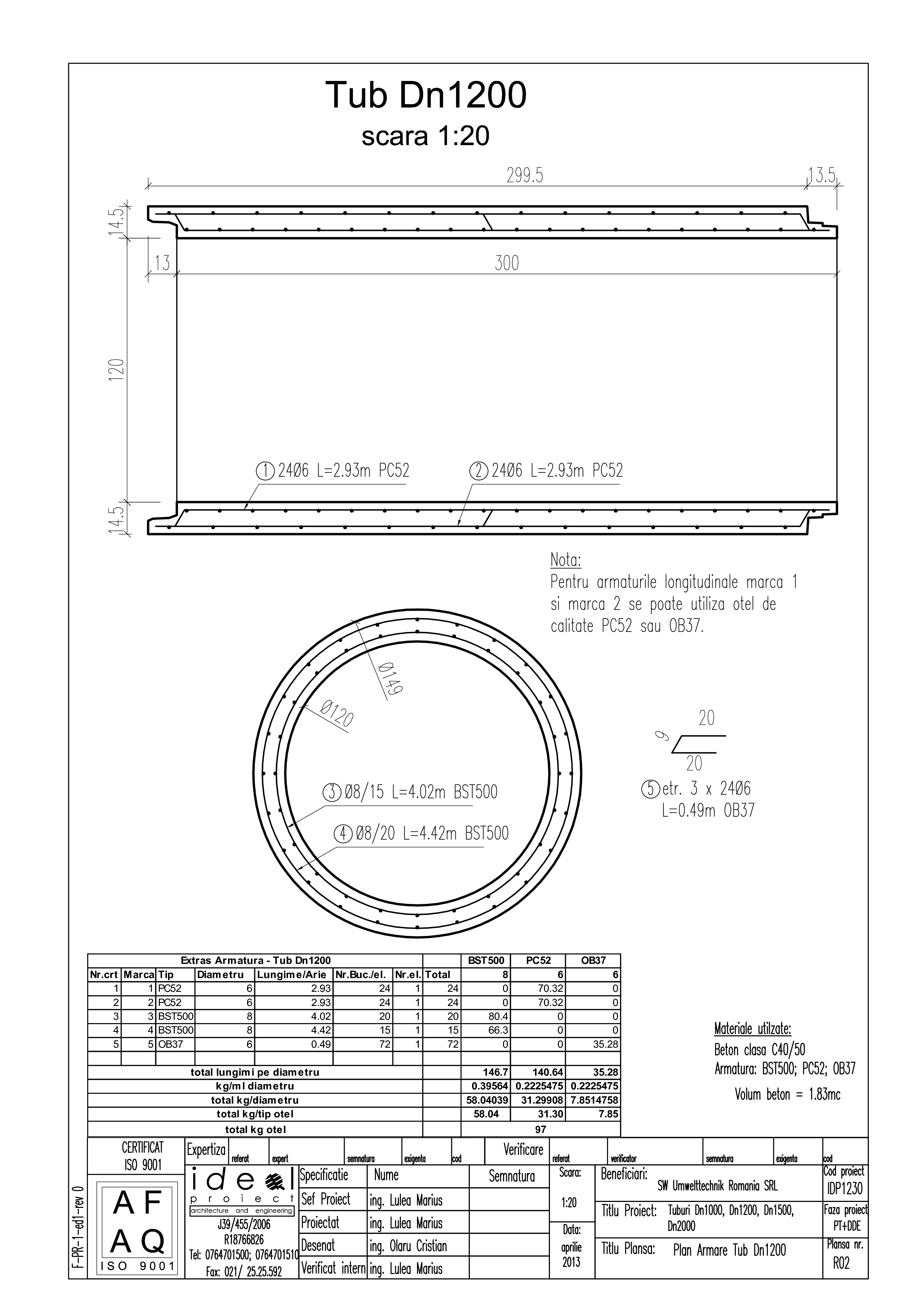Pagina 1 - CAD-PDF Tub DN1200mm L3m SW UMWELTTECHNIK Detaliu de produs