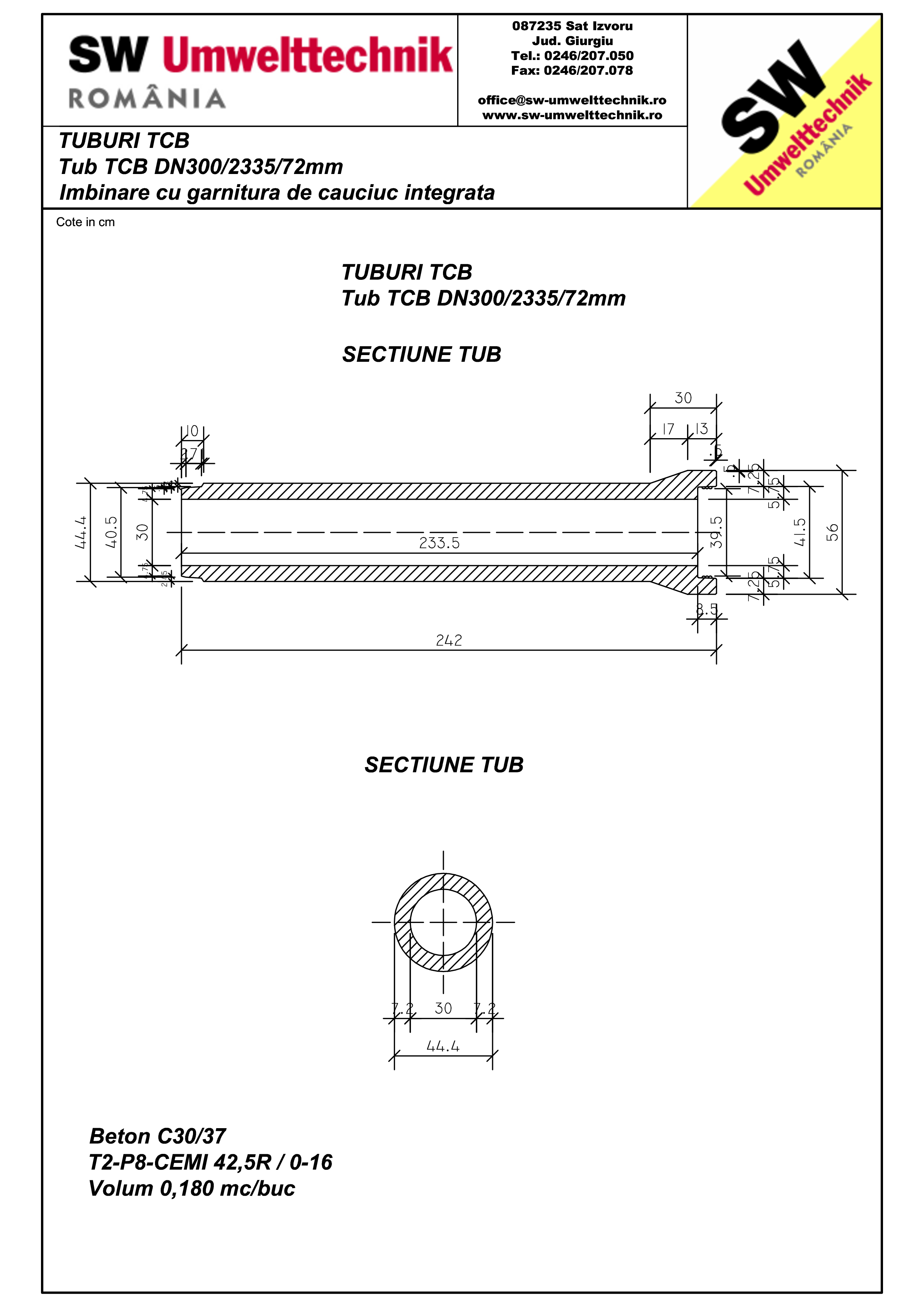 Pagina 1 - CAD-PDF Tub TCB DN300 L2,3m SW UMWELTTECHNIK Detaliu de produs