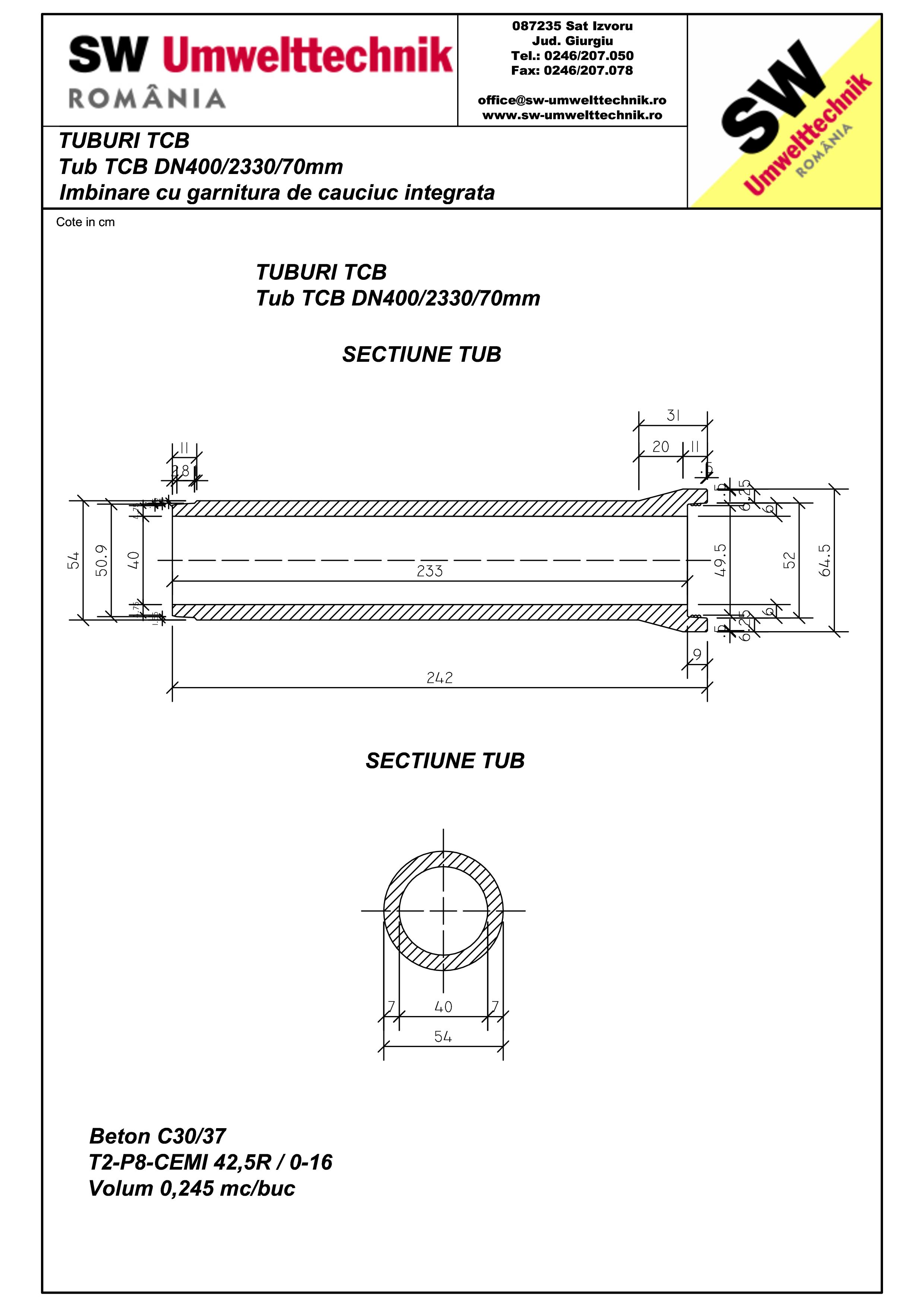 Pagina 1 - CAD-PDF Tub TCB DN400 L2,3m SW UMWELTTECHNIK Detaliu de produs
