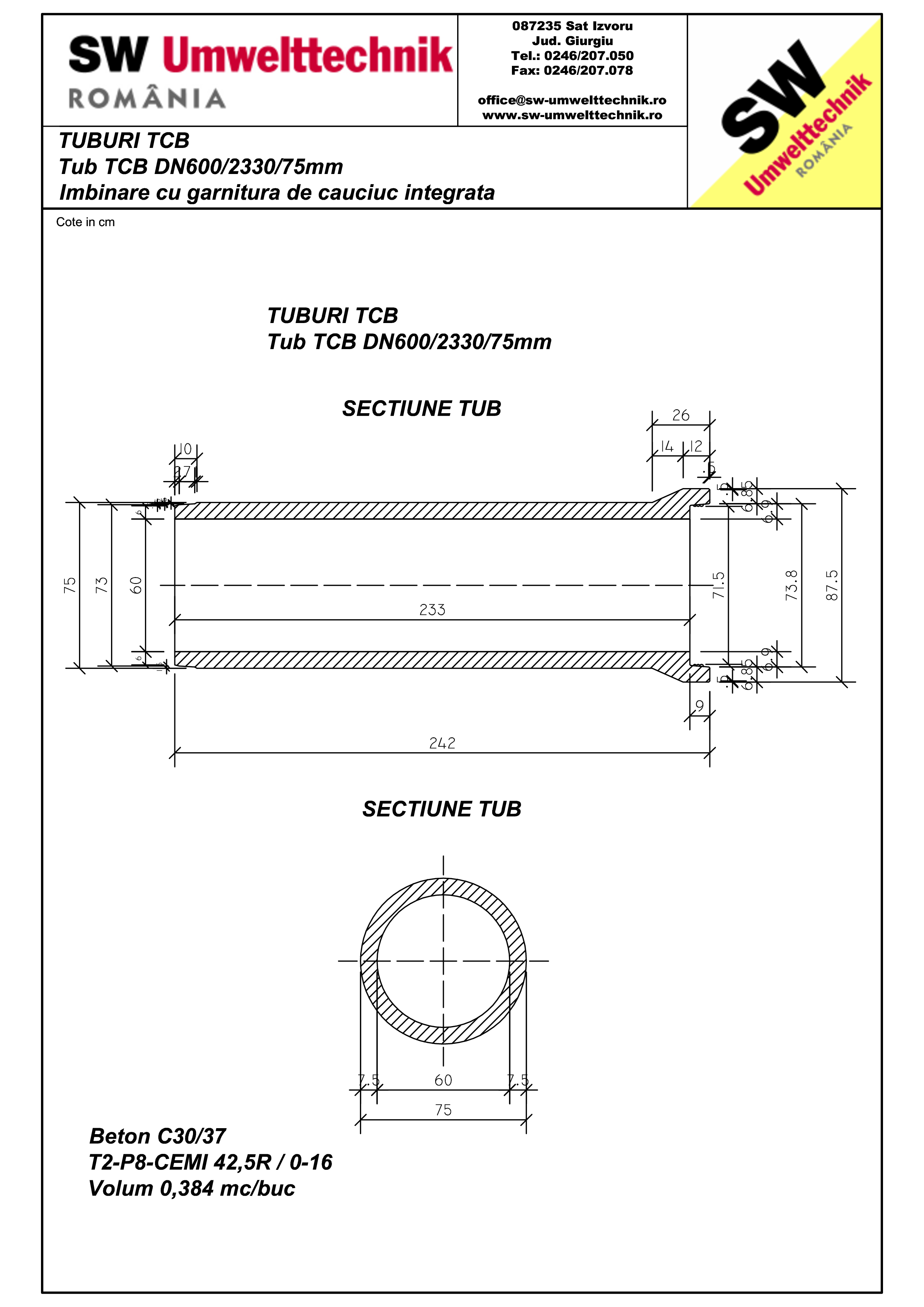 Pagina 1 - CAD-PDF Tub TCB DN600 L2,3m SW UMWELTTECHNIK Detaliu de produs