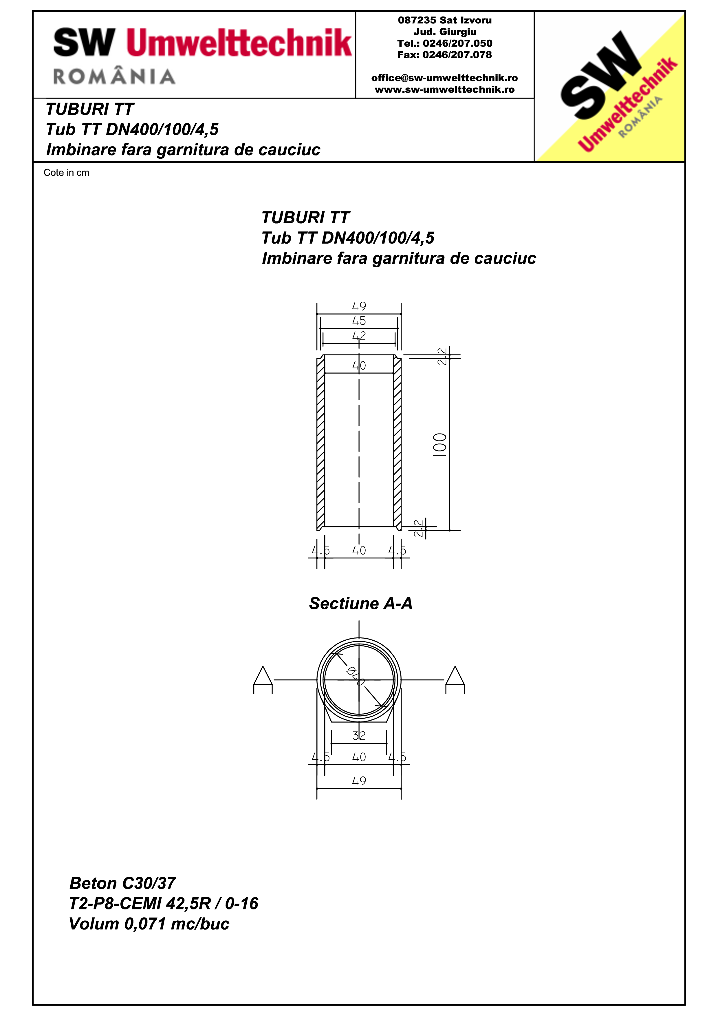 Pagina 1 - CAD-PDF Tub cu talpa TT DN400.100.4,5 SW UMWELTTECHNIK Detaliu de produs
