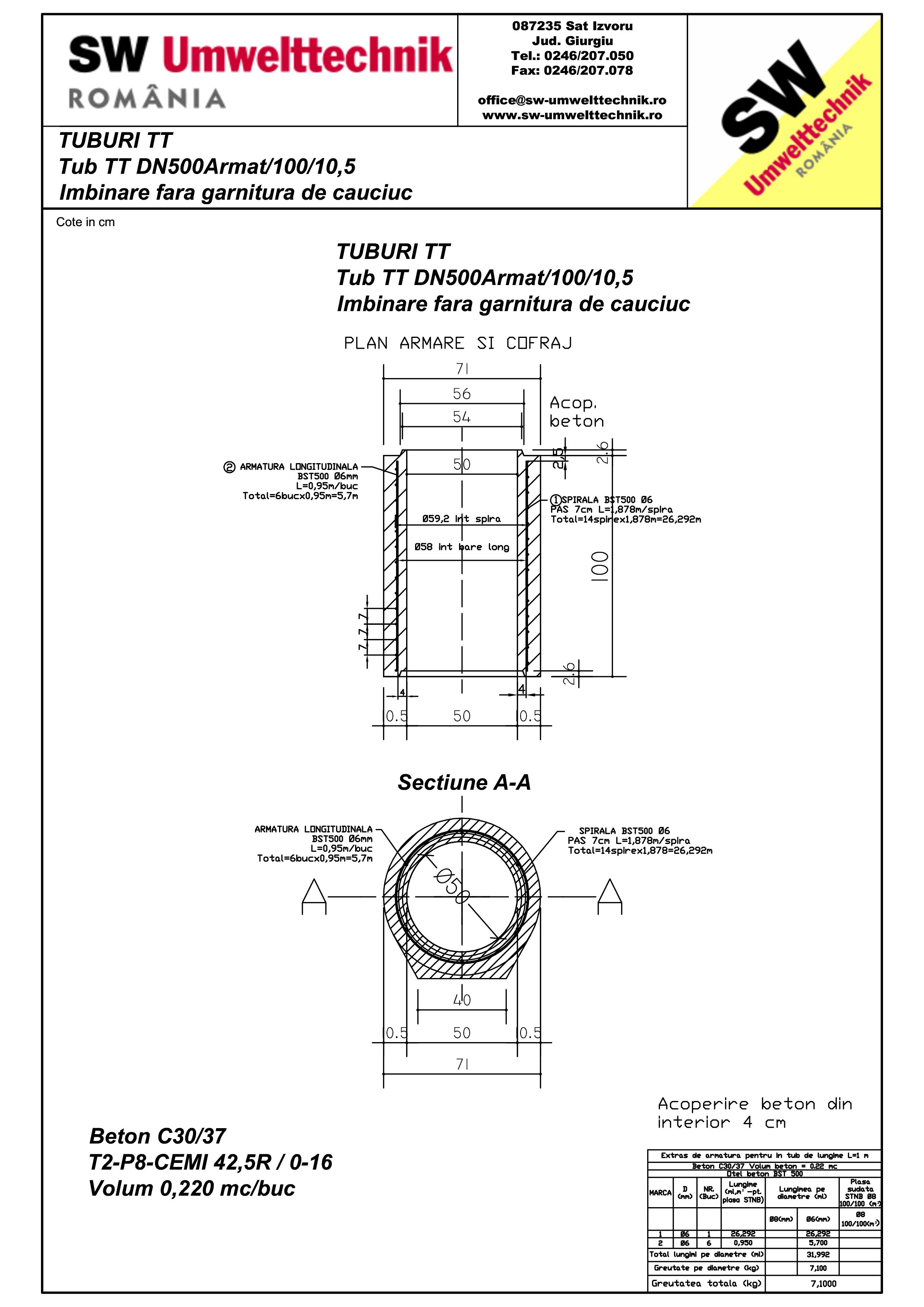 Pagina 1 - CAD-PDF Tub cu talpa TT DN500Armat.100.10,5 SW UMWELTTECHNIK Detaliu de produs