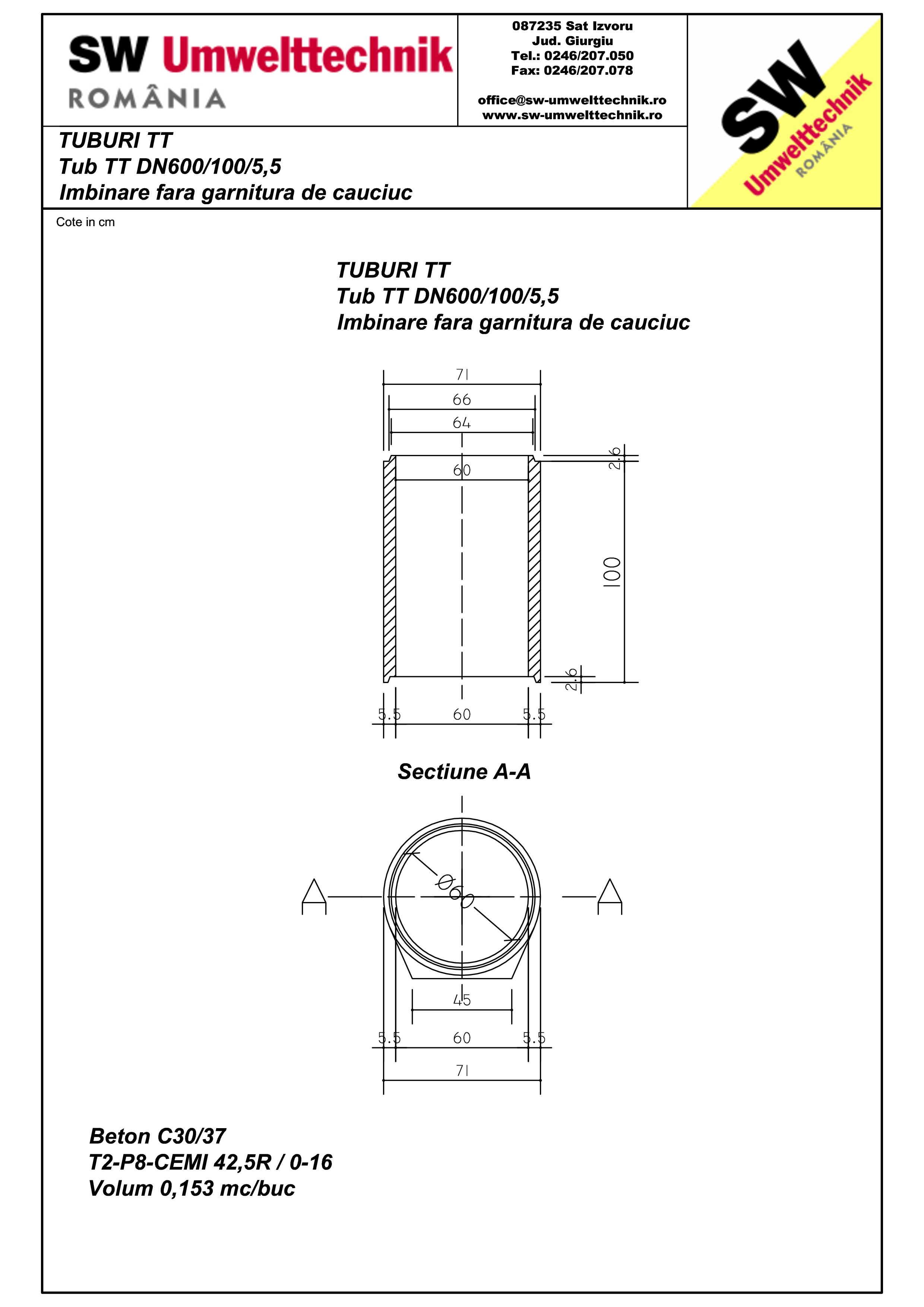 Pagina 1 - CAD-PDF Tub cu talpa TT DN600.100.5,5 SW UMWELTTECHNIK Detaliu de produs