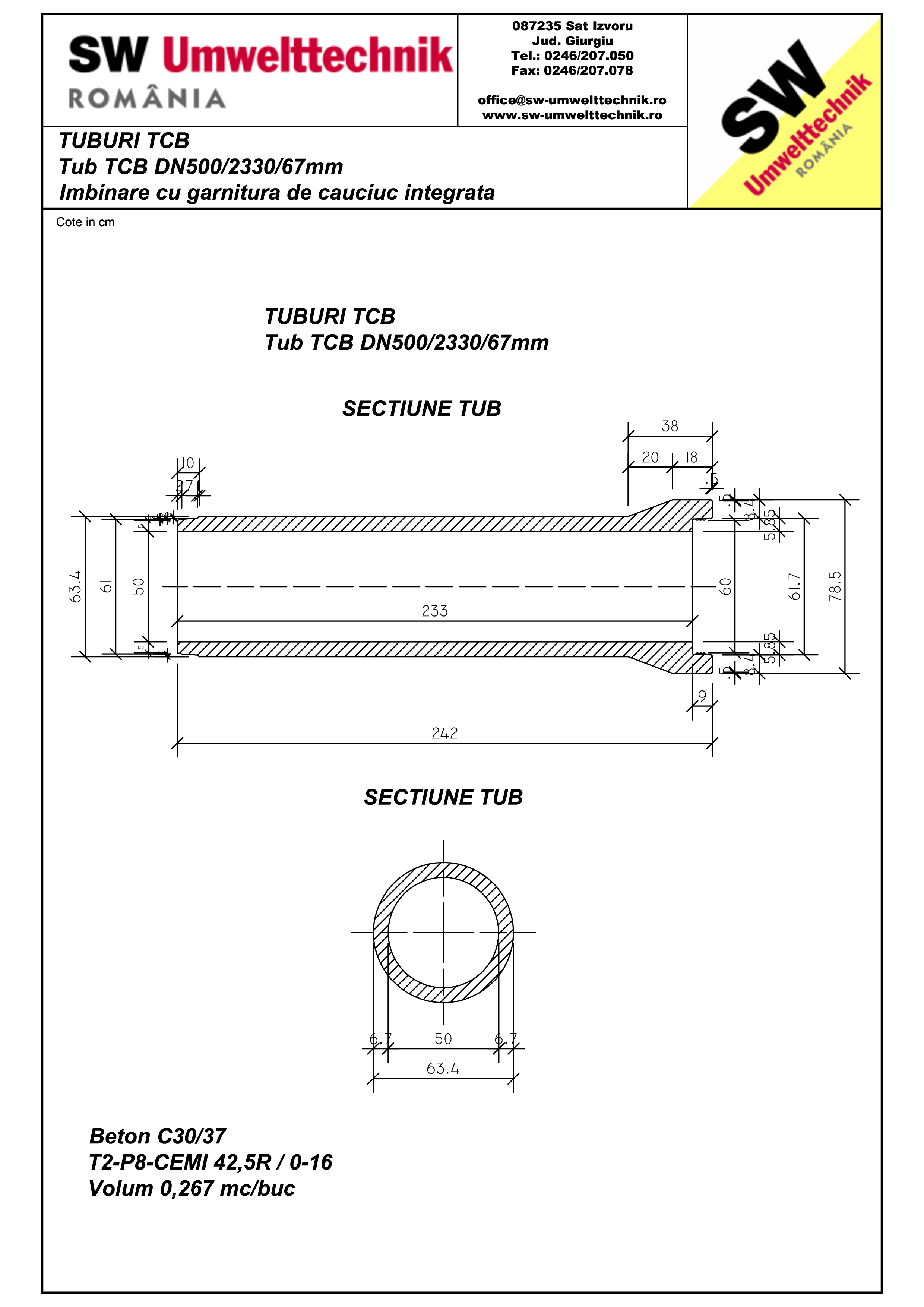 Pagina 1 - CAD-PDF Tub TCB DN500 L2,3m SW UMWELTTECHNIK Detaliu de produs