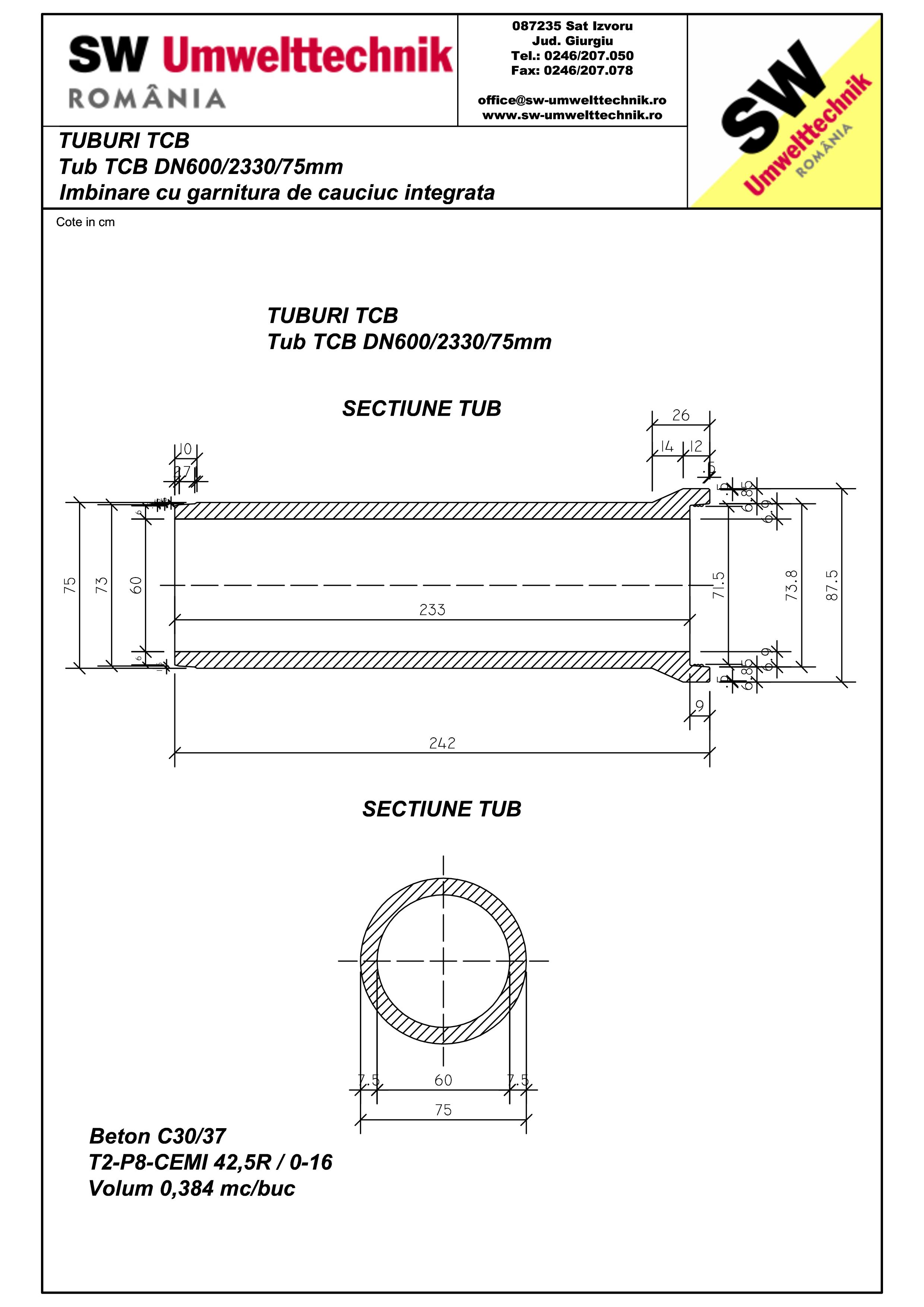 Pagina 1 - CAD-PDF Tub TUB TCB DN600 L2,3m SW UMWELTTECHNIK Detaliu de produs