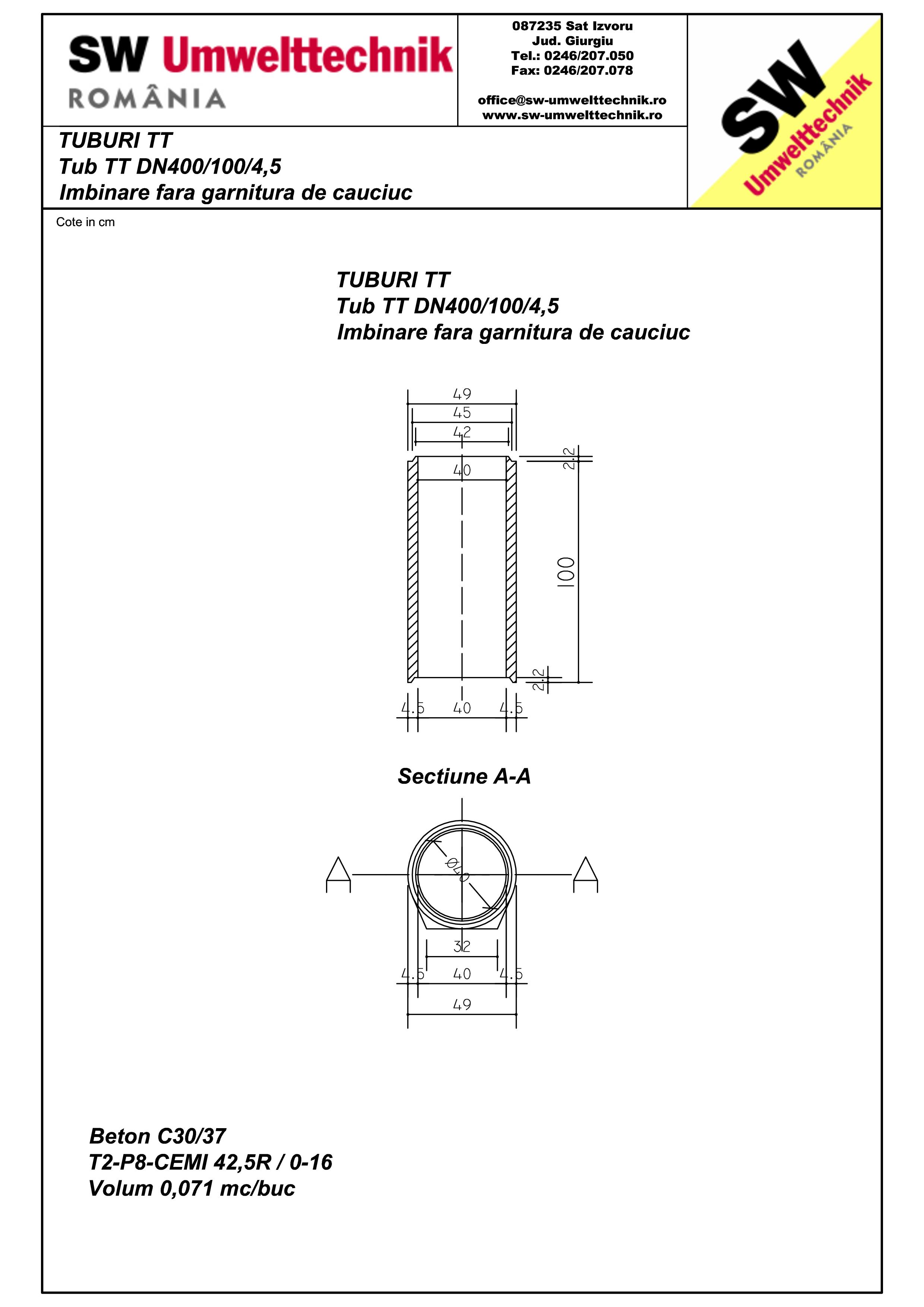 Pagina 1 - CAD-PDF Tub  din beton armat cu talpa DN400.100.4,5 SW UMWELTTECHNIK Detaliu de produs