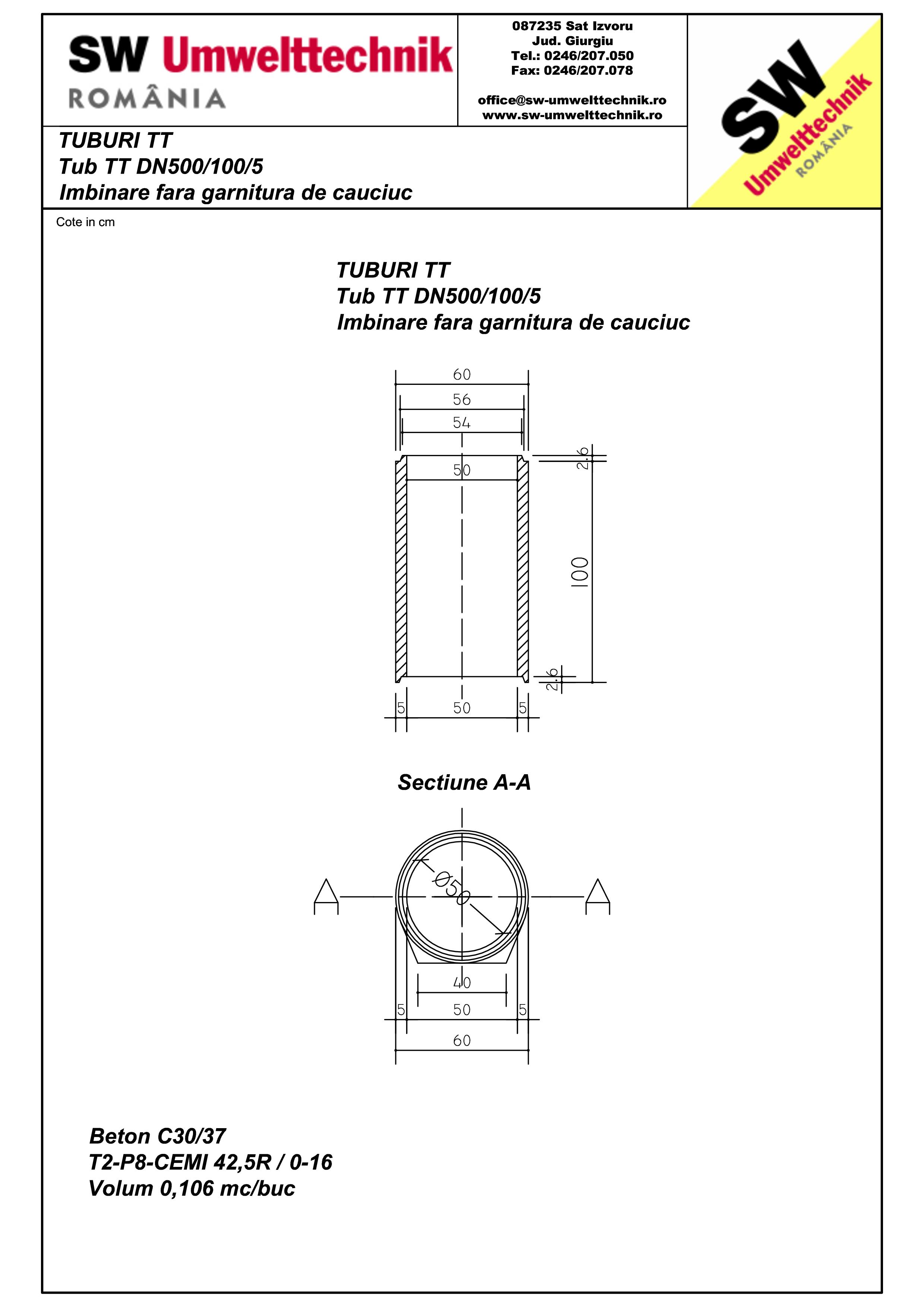 Pagina 1 - CAD-PDF Tub  din beton armat cu talpa DN500.100.5 SW UMWELTTECHNIK Detaliu de produs