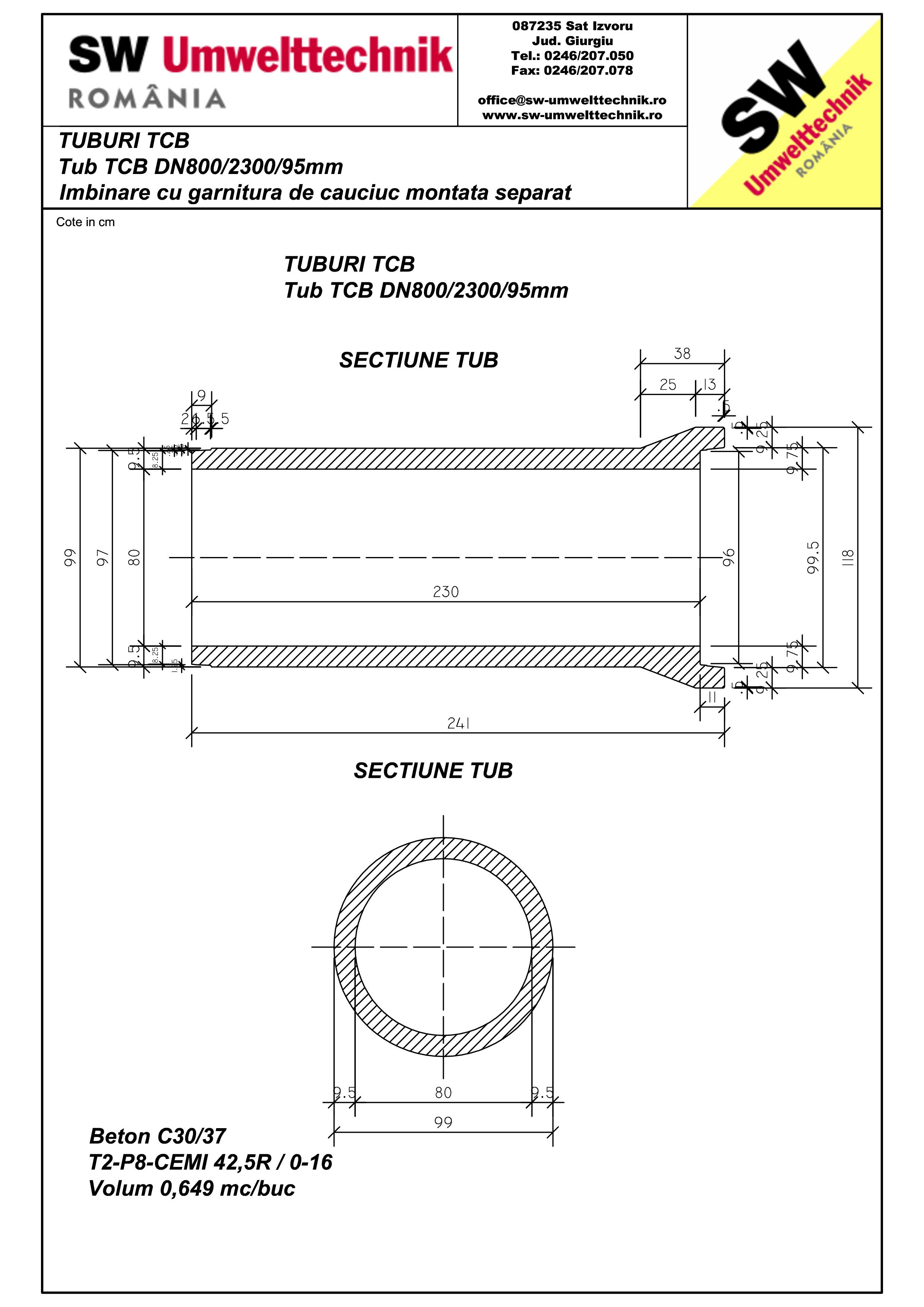 Pagina 1 - CAD-PDF Tub TCB DN800 L2,3m SW UMWELTTECHNIK Detaliu de produs