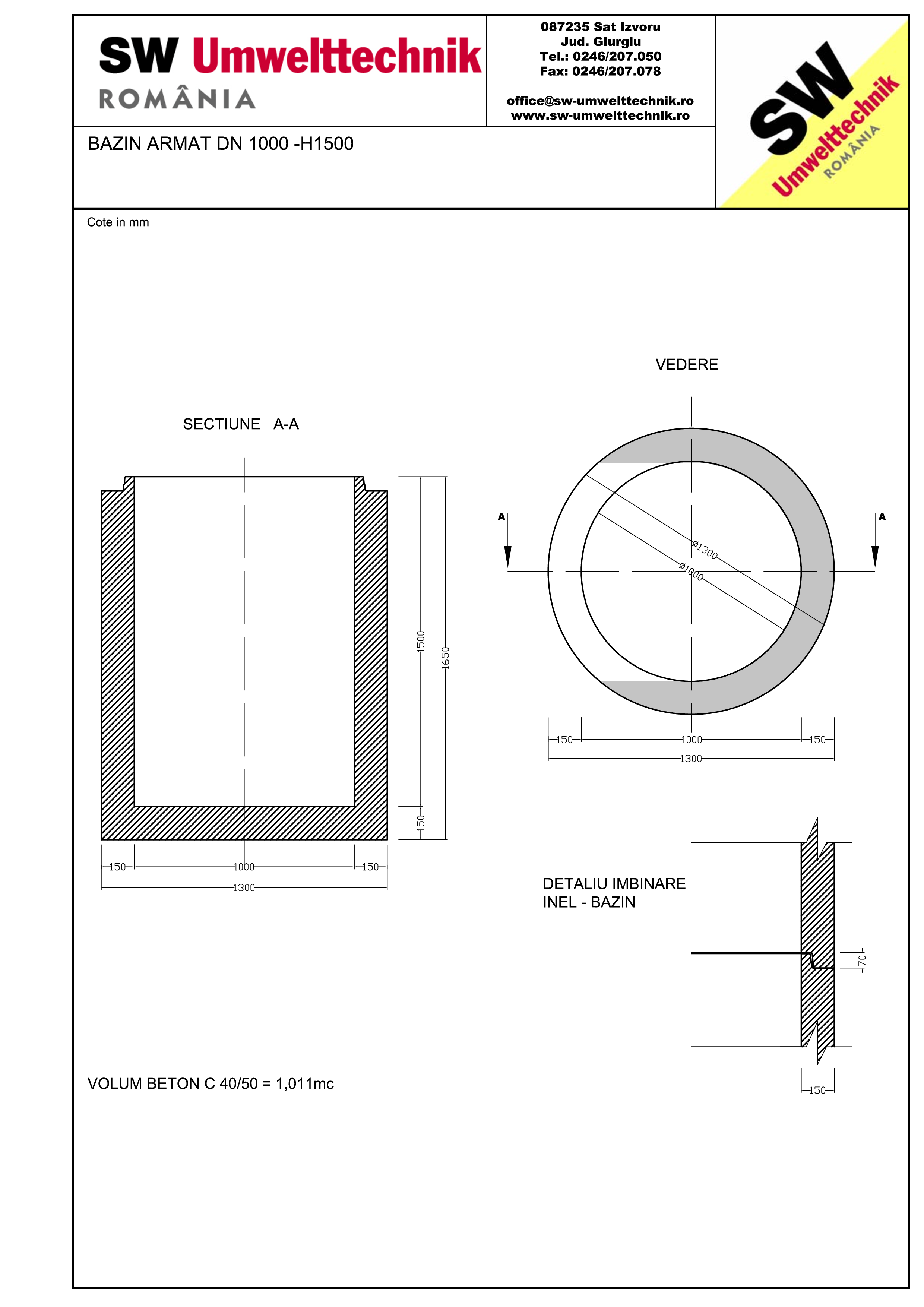 Pagina 1 - CAD-PDF Bazin armat DN1000 H1500 SW UMWELTTECHNIK Detaliu de produs