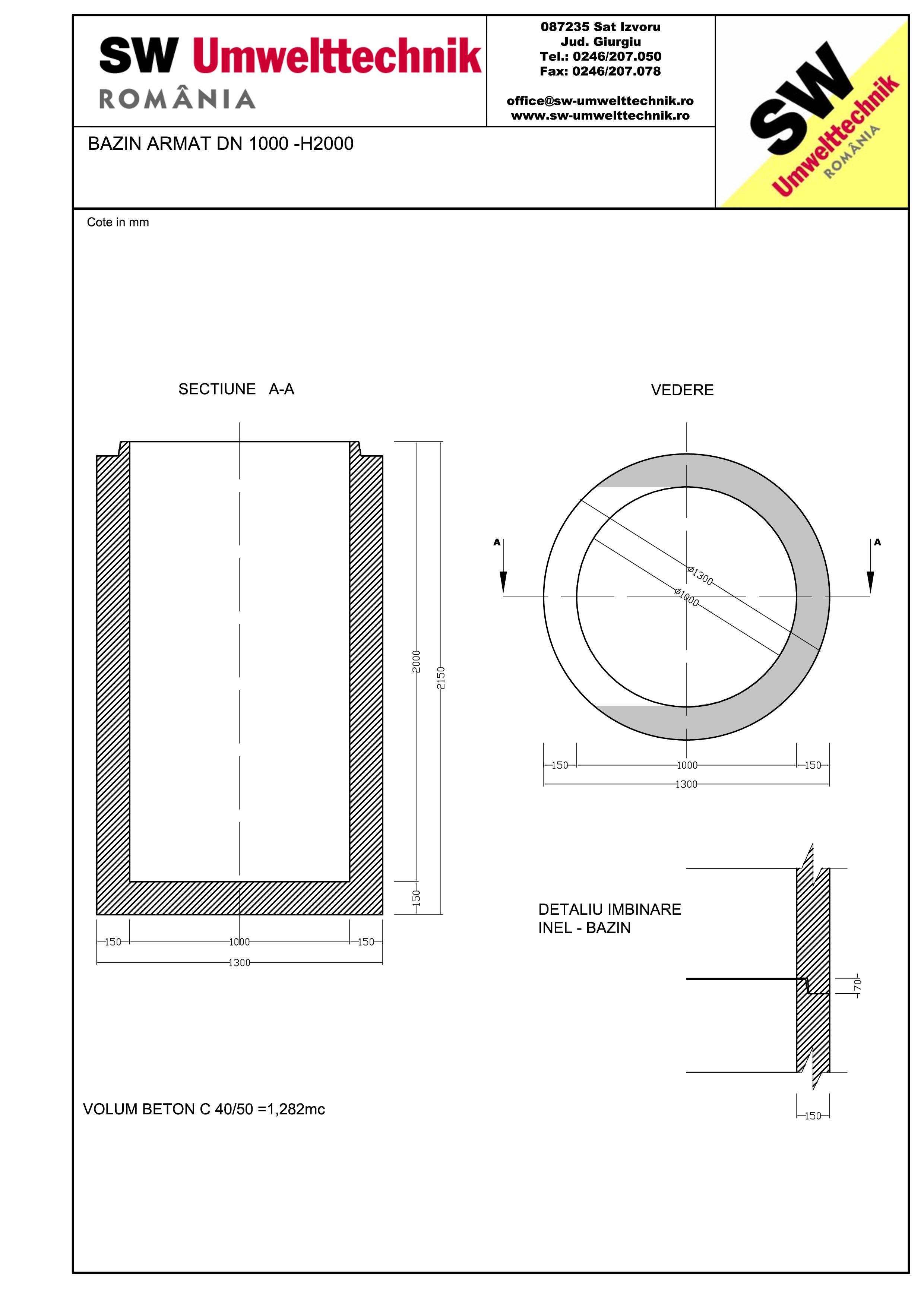 Pagina 1 - CAD-PDF Bazin armat DN1000 H2000 SW UMWELTTECHNIK Detaliu de produs
