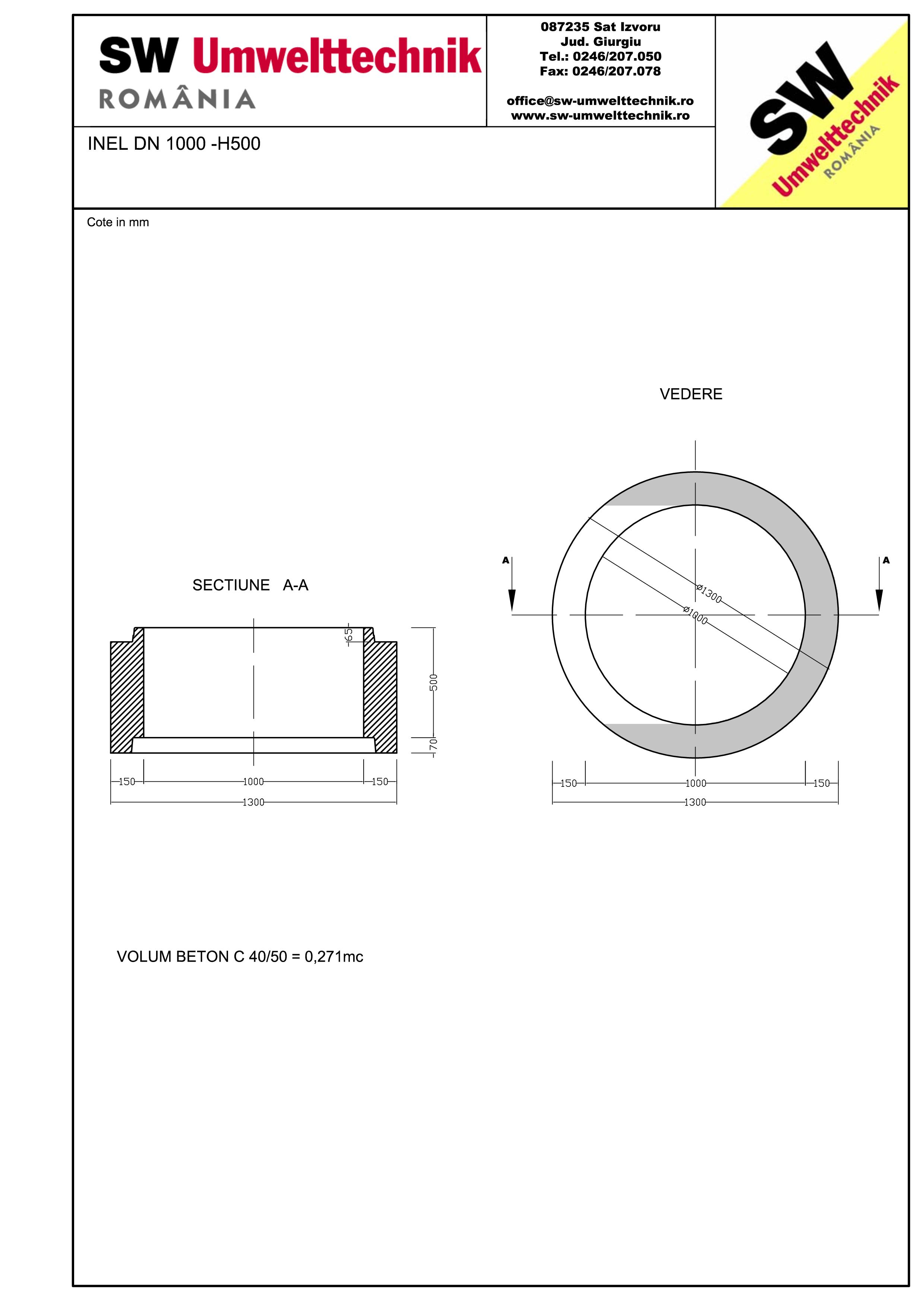 Pagina 1 - CAD-PDF Inel DN1000 INEL H500 SW UMWELTTECHNIK Detaliu de produs