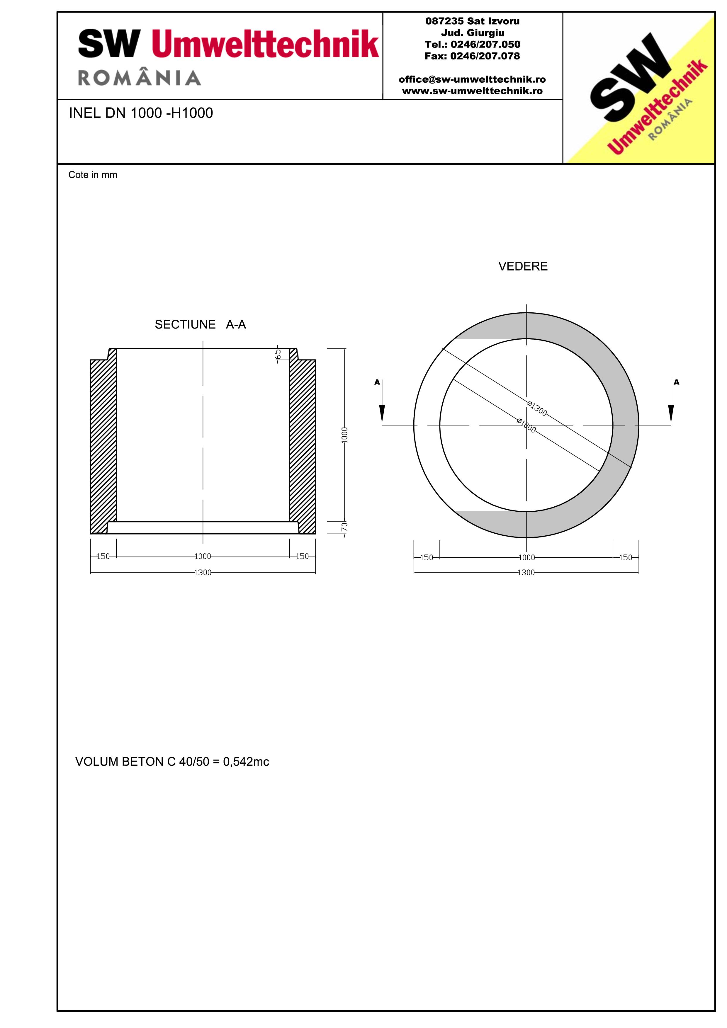 Pagina 1 - CAD-PDF Inel DN1000 INEL H1000 SW UMWELTTECHNIK Detaliu de produs