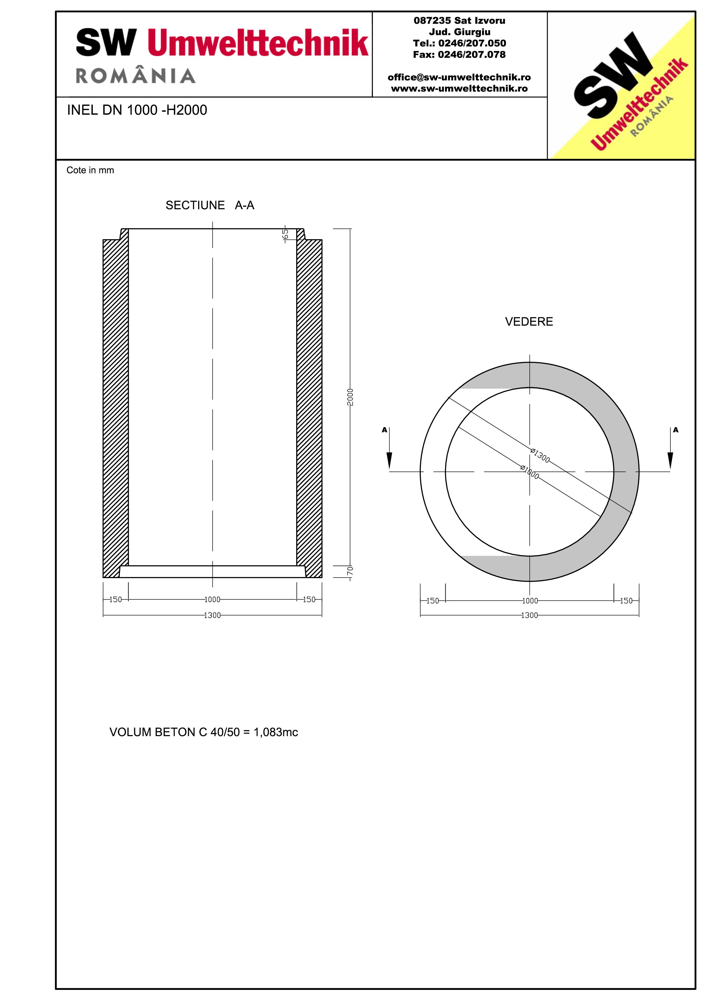 Pagina 1 - CAD-PDF Inel DN1000 INEL H2000 SW UMWELTTECHNIK Detaliu de produs